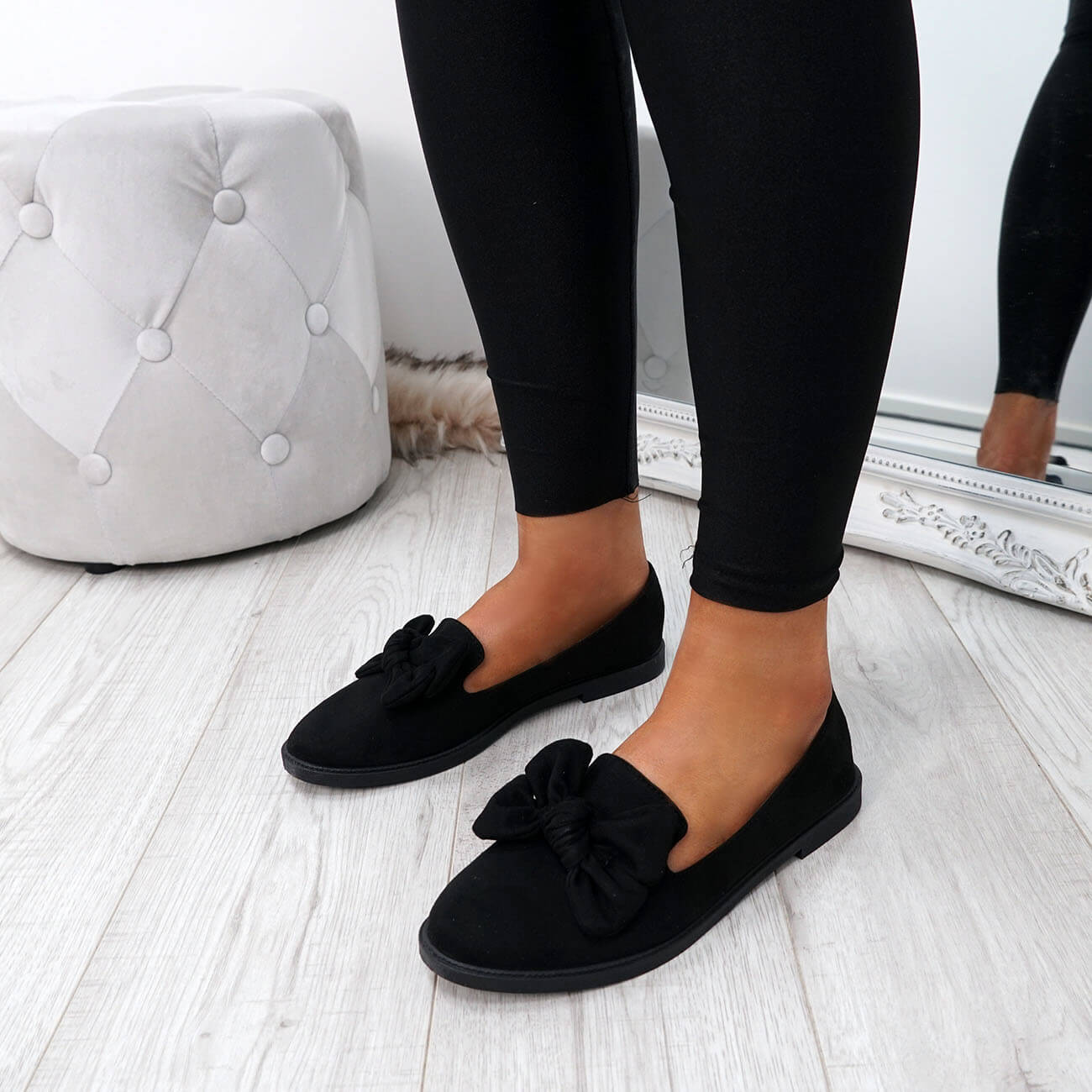 WOMENS-LADIES-BOW-BALLERINA-PUMPS-FLATS-SLIP-ON-BALLET-CASUAL-WORK-SHOES-SIZE thumbnail 14