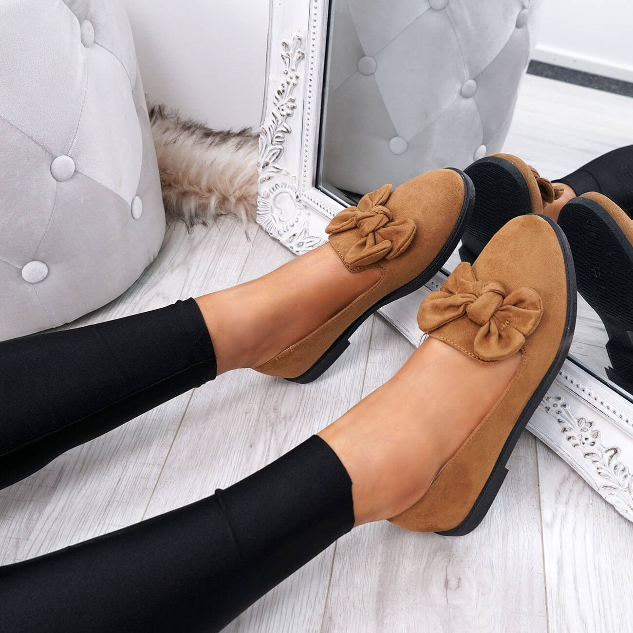 WOMENS-LADIES-BOW-BALLERINA-PUMPS-FLATS-SLIP-ON-BALLET-CASUAL-WORK-SHOES-SIZE thumbnail 17