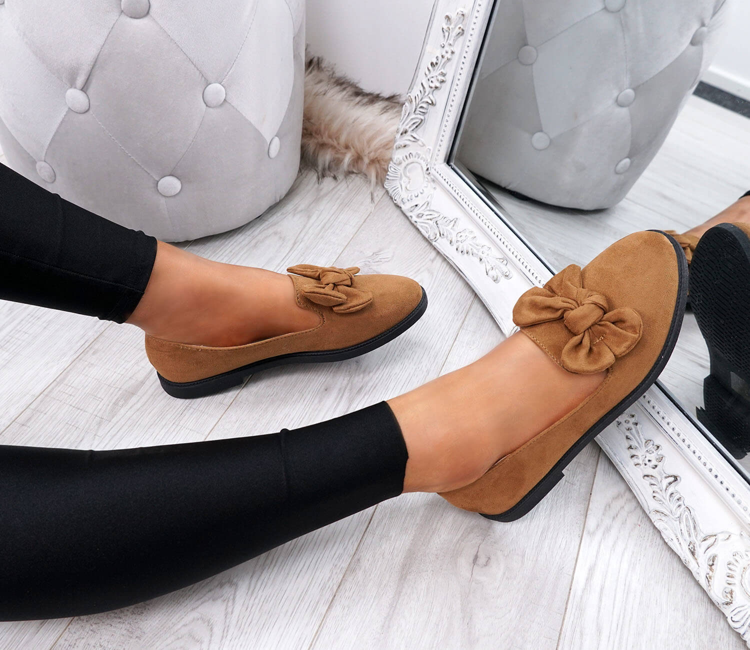 WOMENS-LADIES-BOW-BALLERINA-PUMPS-FLATS-SLIP-ON-BALLET-CASUAL-WORK-SHOES-SIZE thumbnail 18