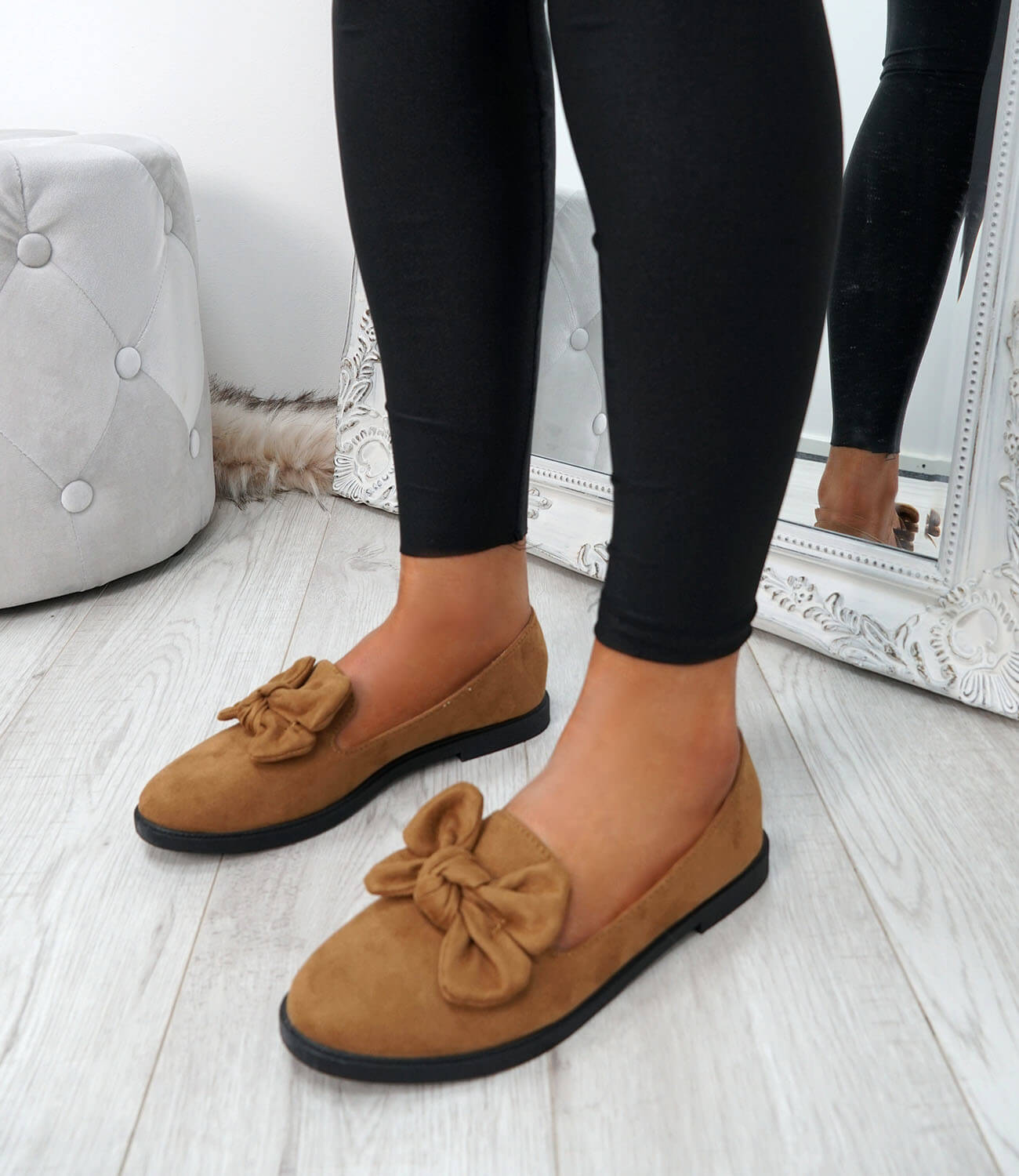 WOMENS-LADIES-BOW-BALLERINA-PUMPS-FLATS-SLIP-ON-BALLET-CASUAL-WORK-SHOES-SIZE thumbnail 19