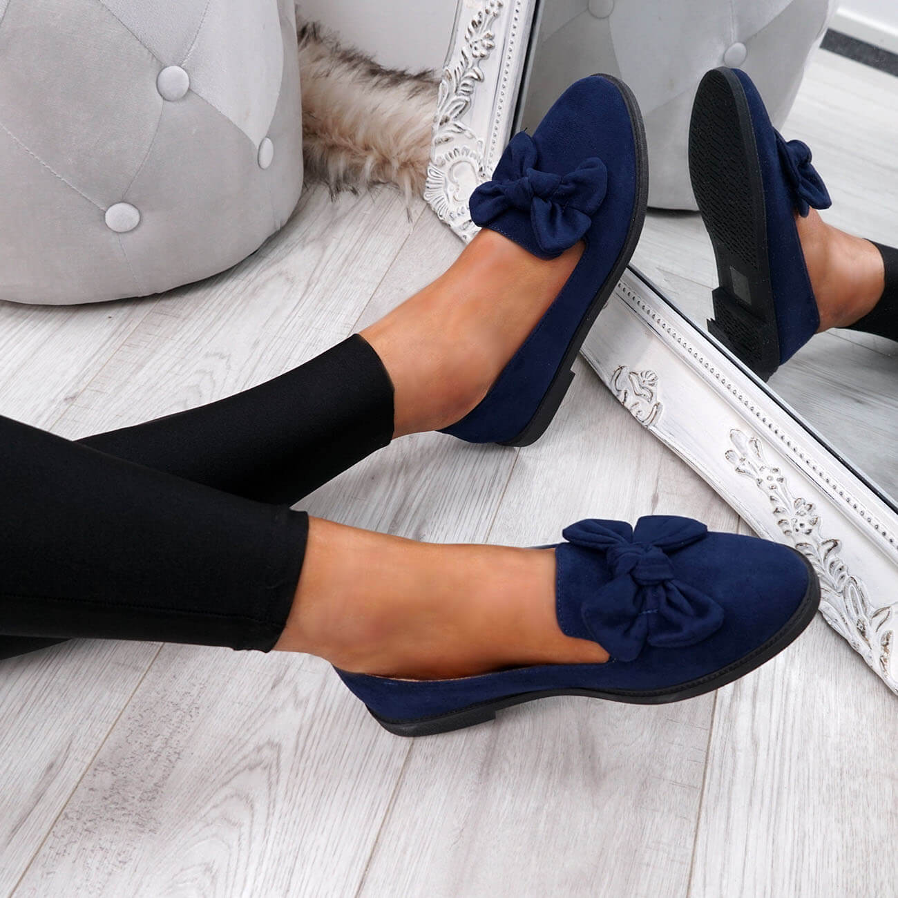 WOMENS-LADIES-BOW-BALLERINA-PUMPS-FLATS-SLIP-ON-BALLET-CASUAL-WORK-SHOES-SIZE thumbnail 23