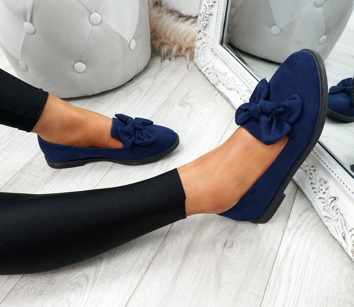 WOMENS-LADIES-BOW-BALLERINA-PUMPS-FLATS-SLIP-ON-BALLET-CASUAL-WORK-SHOES-SIZE thumbnail 24