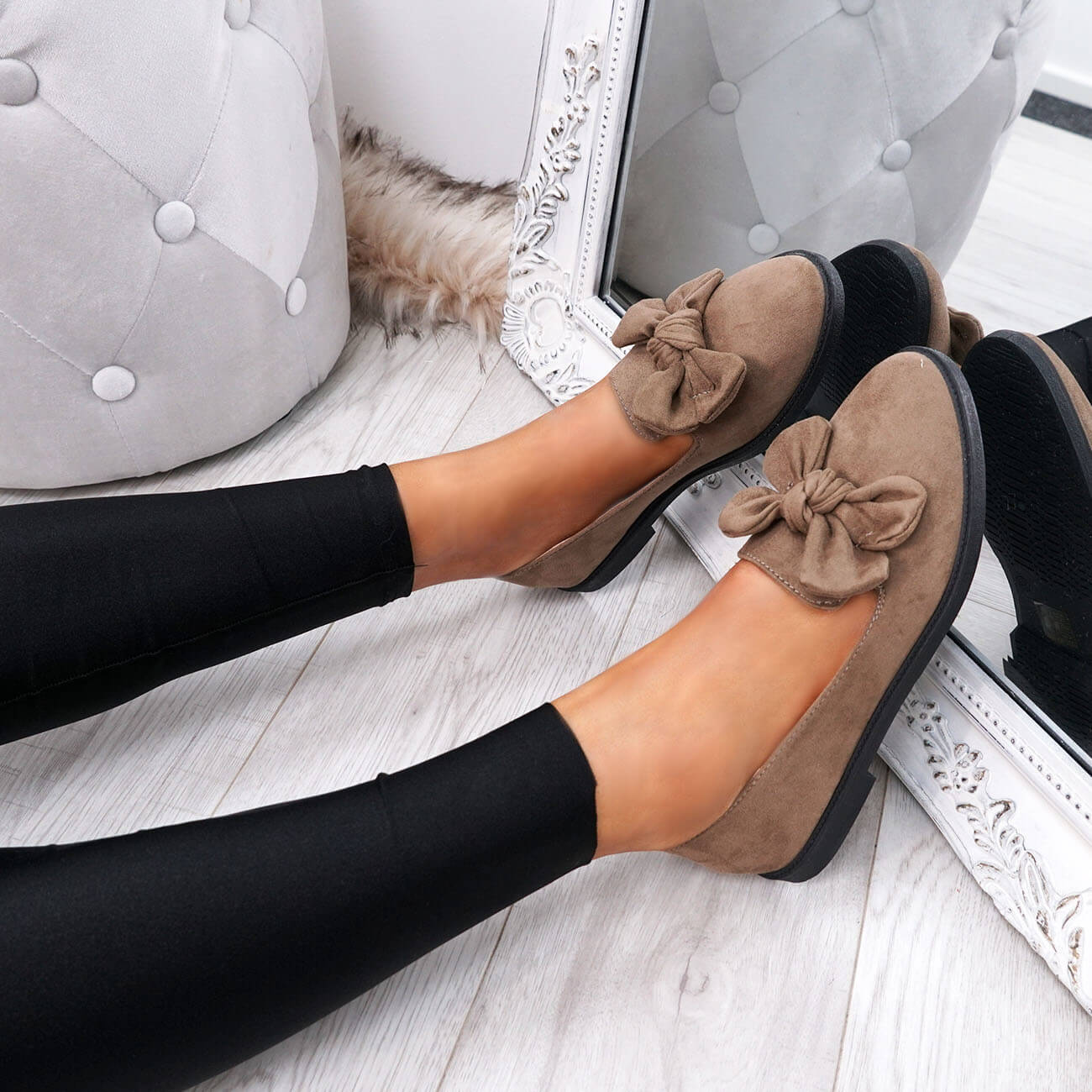 WOMENS-LADIES-BOW-BALLERINA-PUMPS-FLATS-SLIP-ON-BALLET-CASUAL-WORK-SHOES-SIZE thumbnail 27