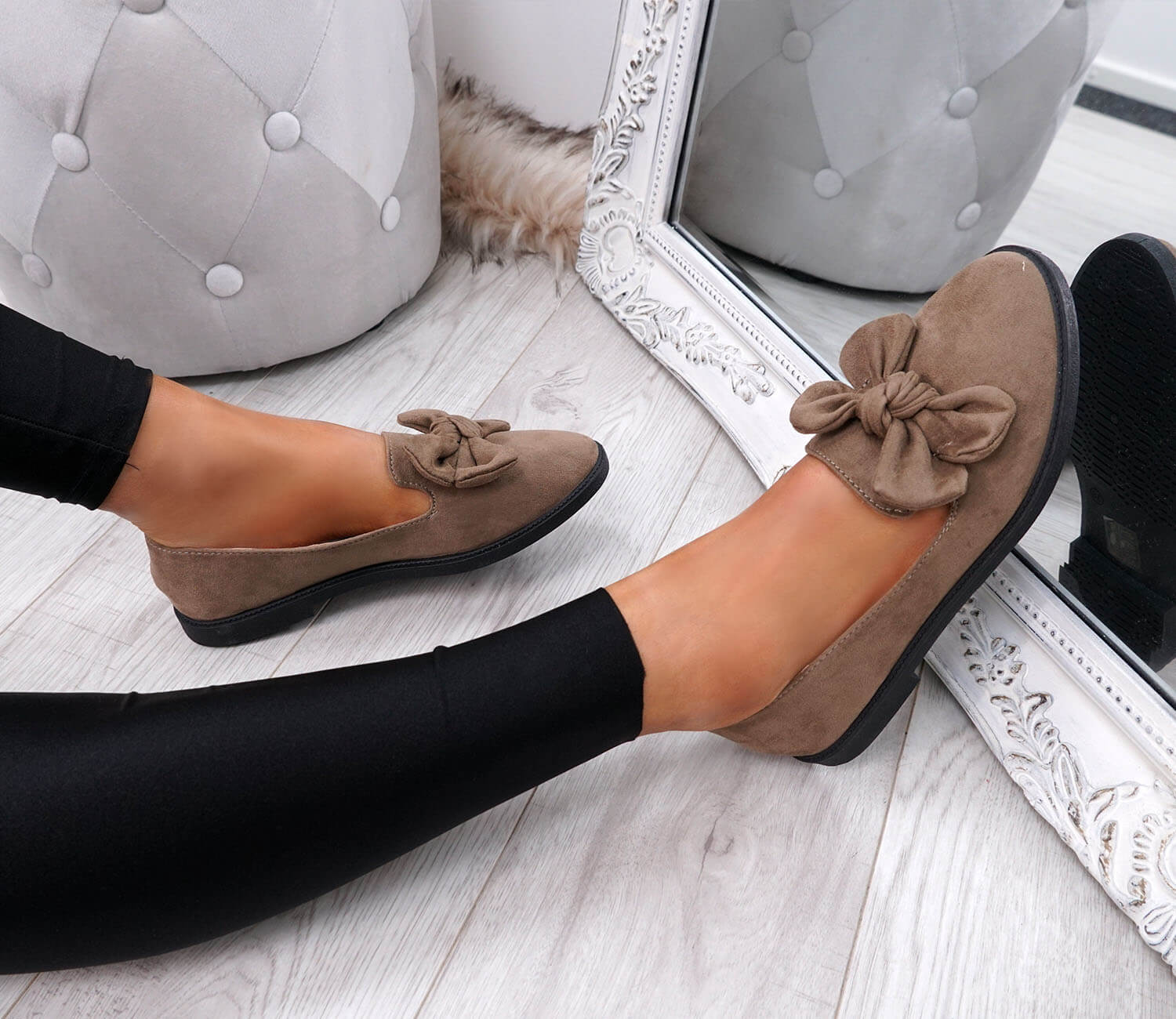 WOMENS-LADIES-BOW-BALLERINA-PUMPS-FLATS-SLIP-ON-BALLET-CASUAL-WORK-SHOES-SIZE thumbnail 30