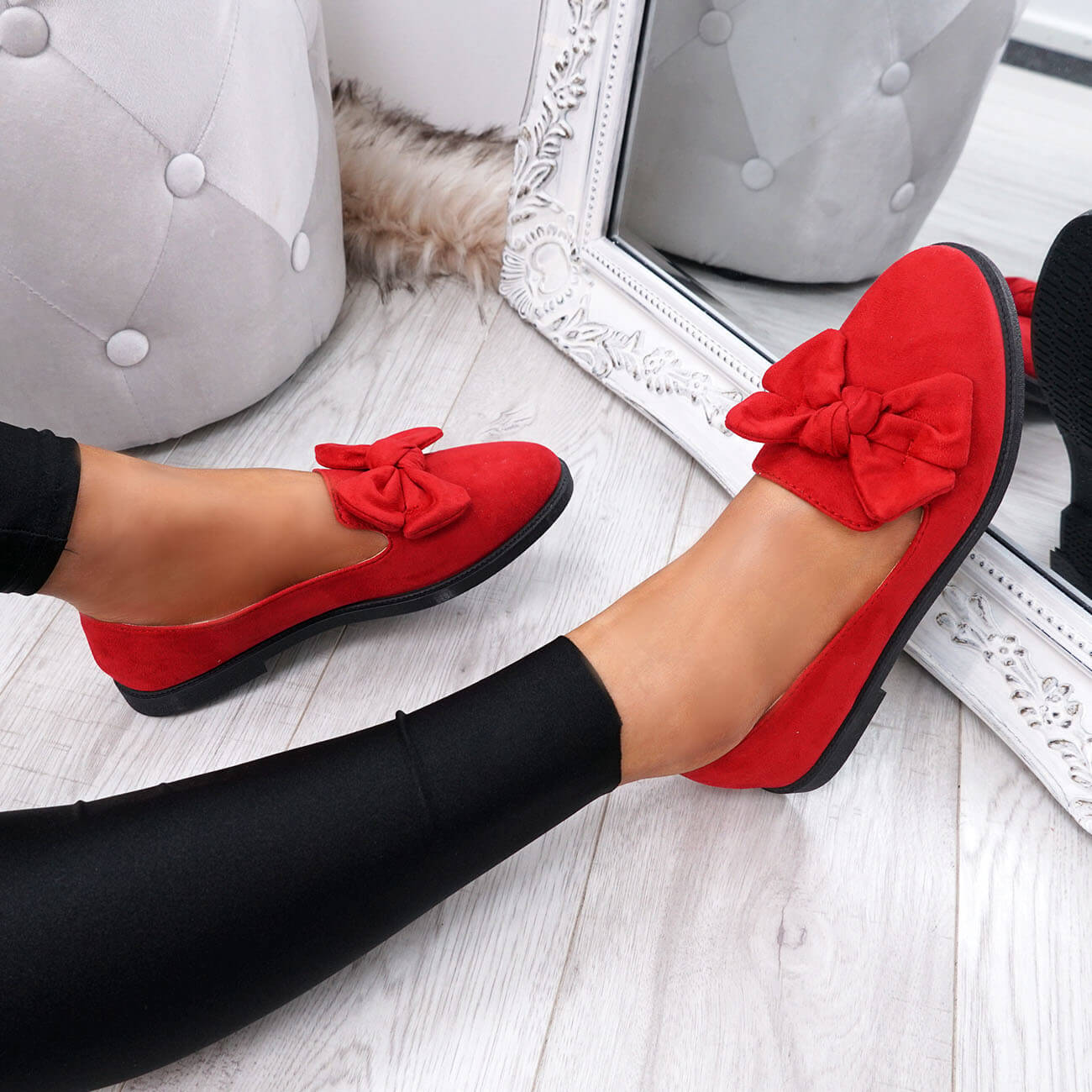 WOMENS-LADIES-BOW-BALLERINA-PUMPS-FLATS-SLIP-ON-BALLET-CASUAL-WORK-SHOES-SIZE thumbnail 32