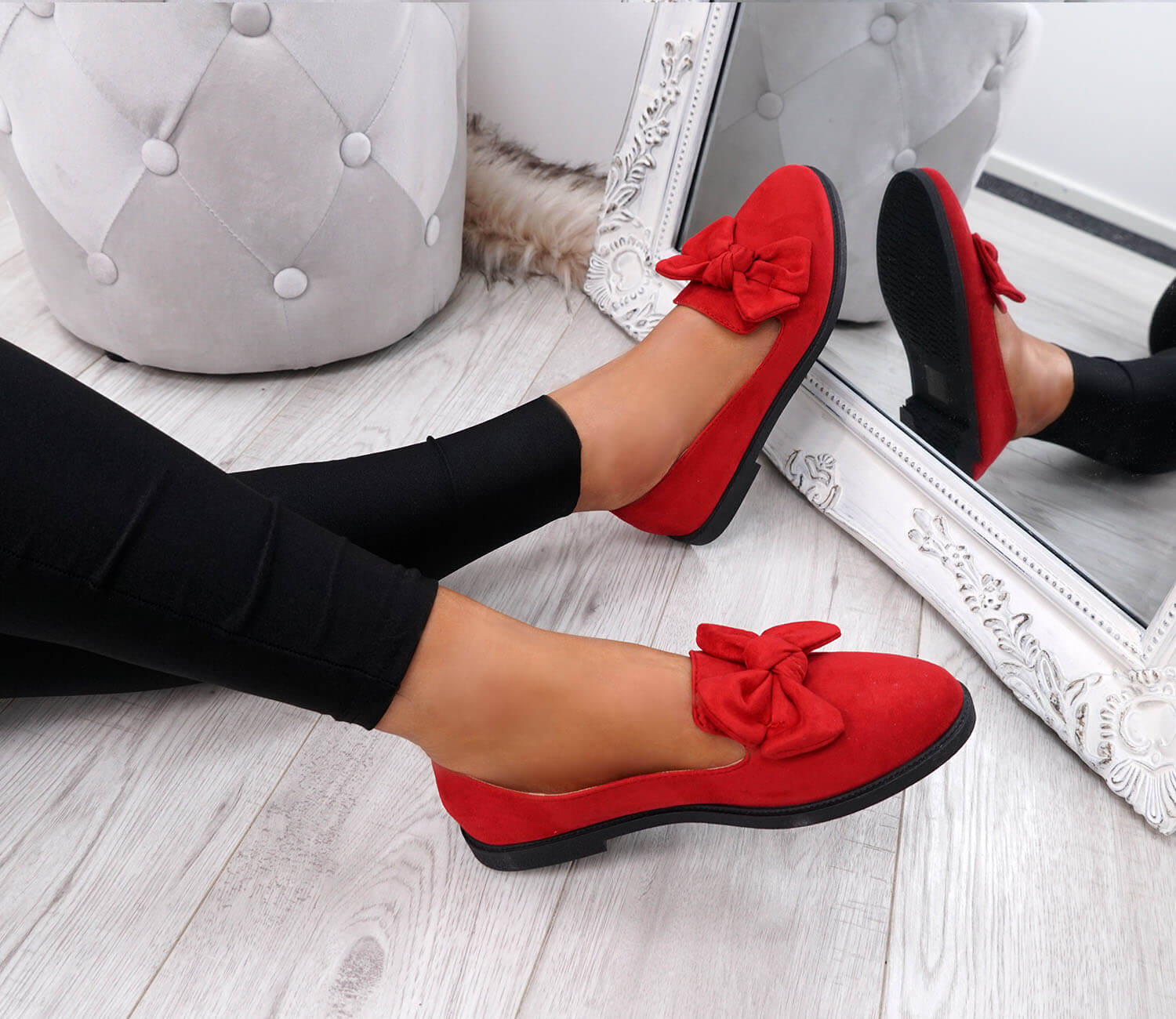 WOMENS-LADIES-BOW-BALLERINA-PUMPS-FLATS-SLIP-ON-BALLET-CASUAL-WORK-SHOES-SIZE thumbnail 33