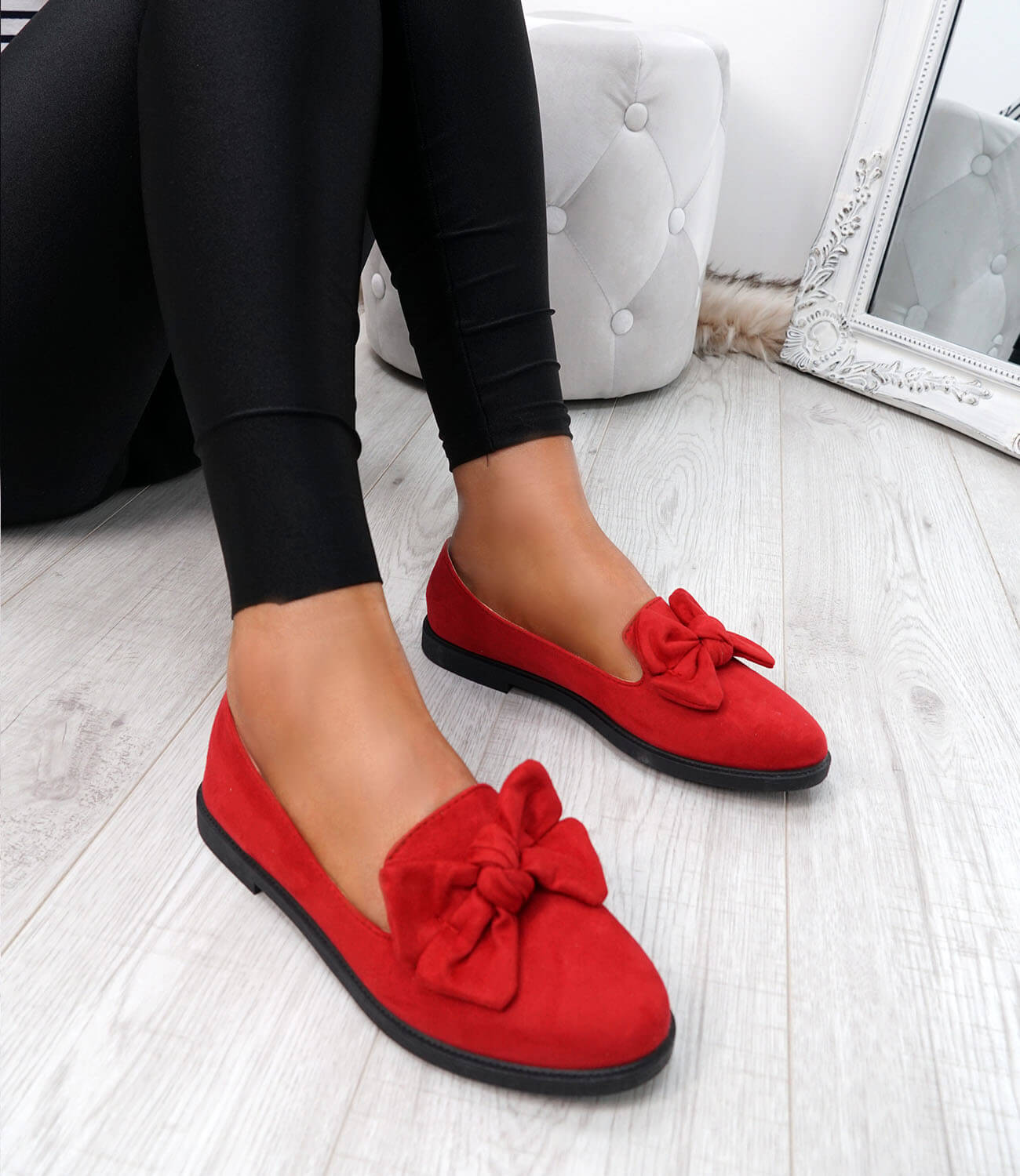 WOMENS-LADIES-BOW-BALLERINA-PUMPS-FLATS-SLIP-ON-BALLET-CASUAL-WORK-SHOES-SIZE thumbnail 34