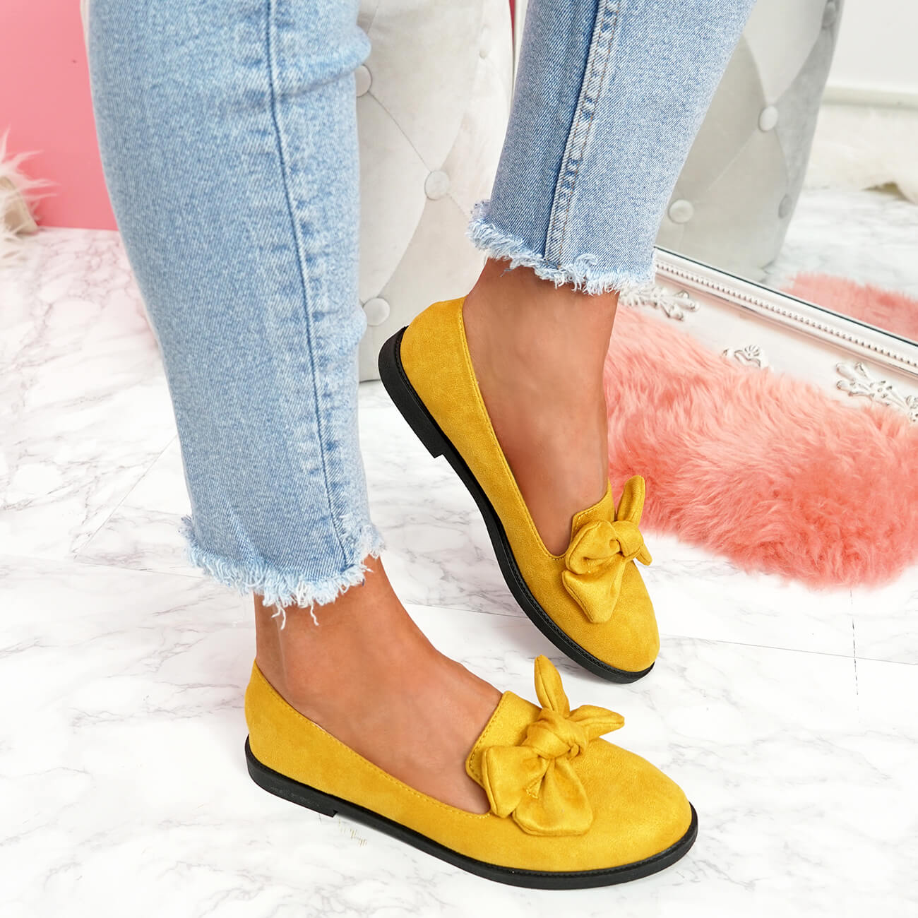 WOMENS-LADIES-BOW-BALLERINA-PUMPS-FLATS-SLIP-ON-BALLET-CASUAL-WORK-SHOES-SIZE thumbnail 39