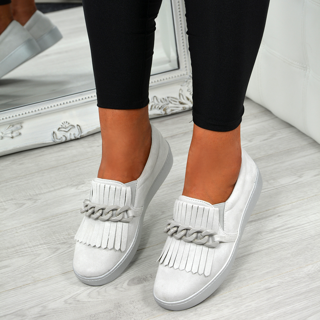 LADIES-WOMENS-SLIP-ON-TRAINERS-CHAIN-FRINGE-SNEAKERS-COMFY-SHOES-SIZES