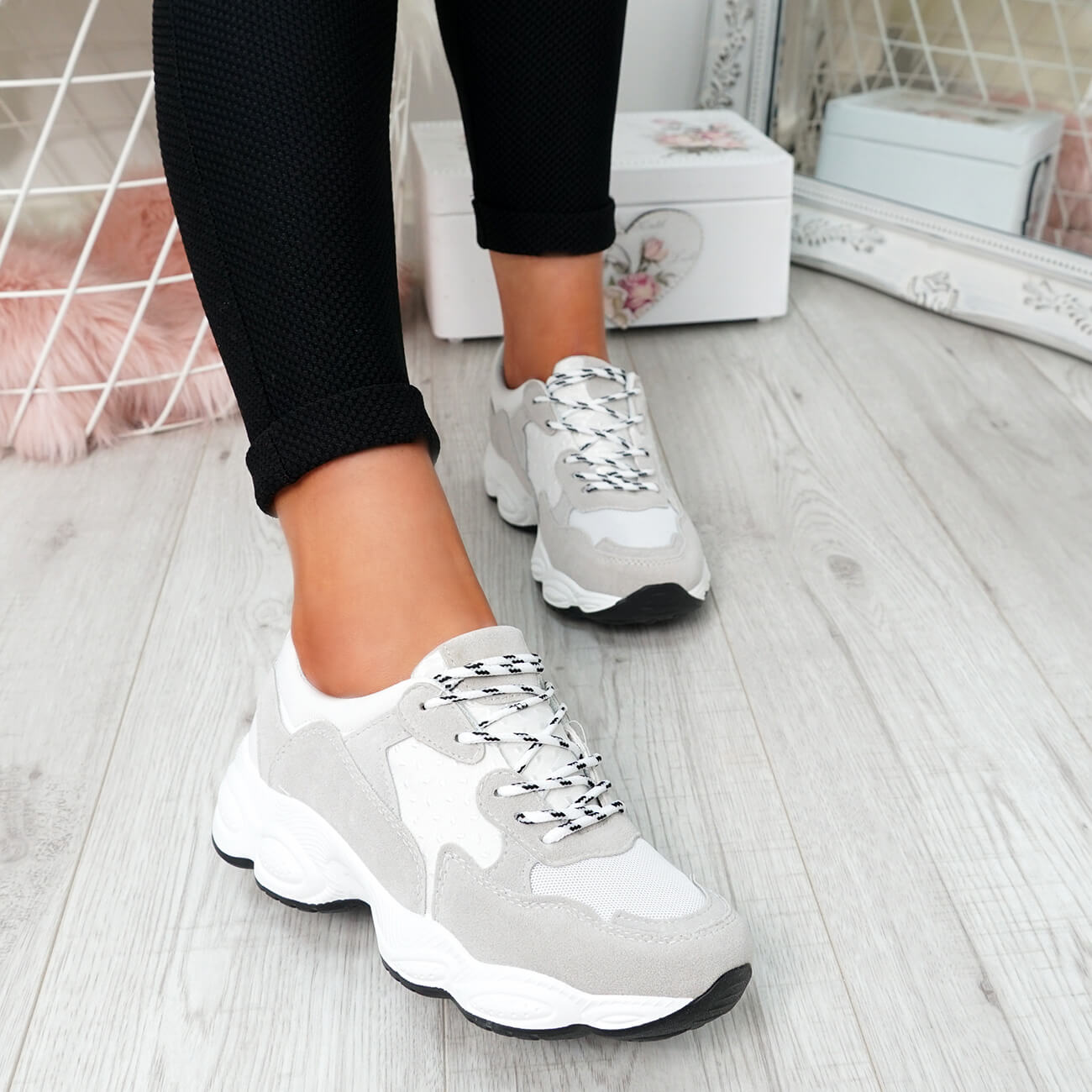 WOMENS-LADIES-RUNNING-GYM-CHUNKY-TRAINERS-SNEAKERS-SHOES-SIZE miniatura 6