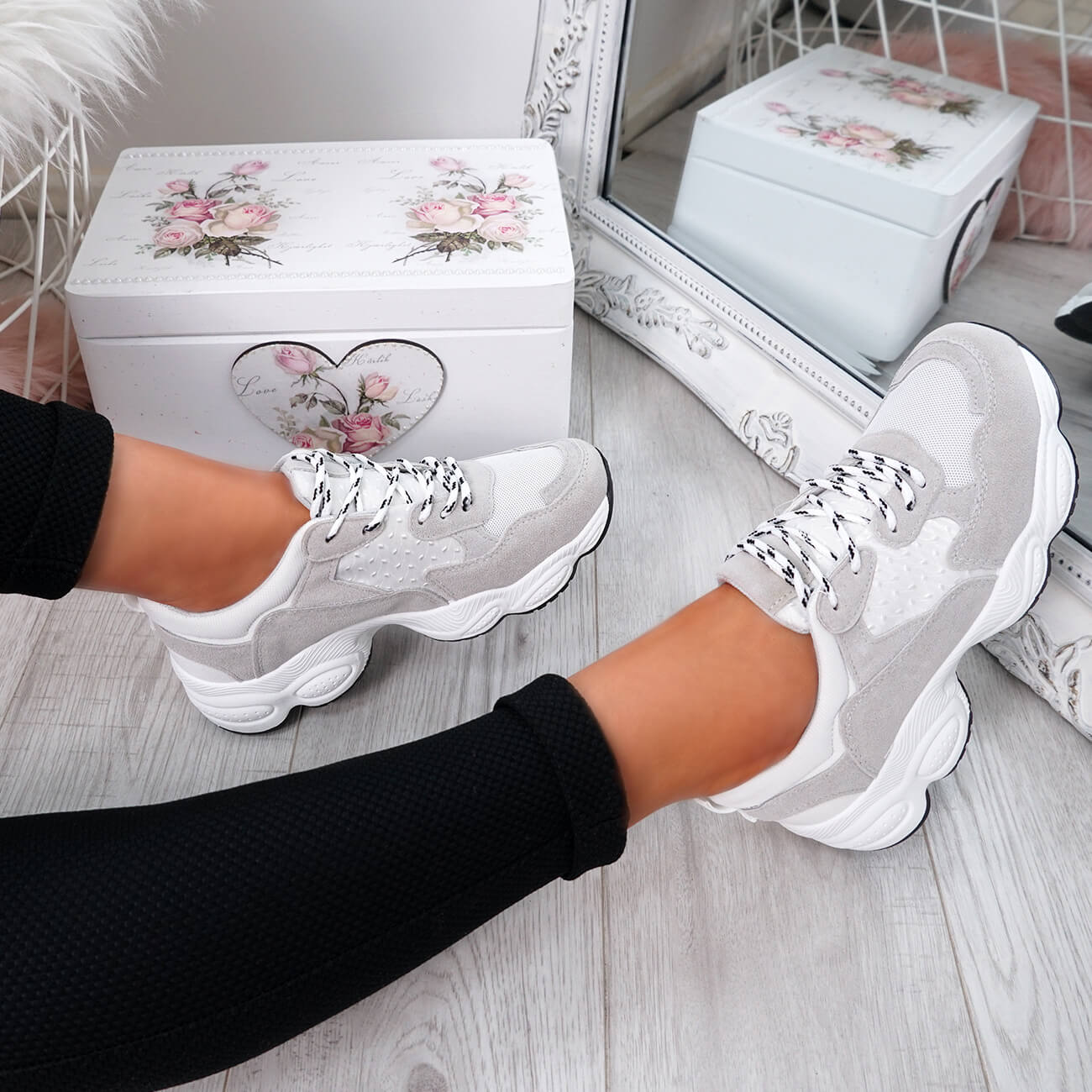 WOMENS-LADIES-RUNNING-GYM-CHUNKY-TRAINERS-SNEAKERS-SHOES-SIZE miniatura 8