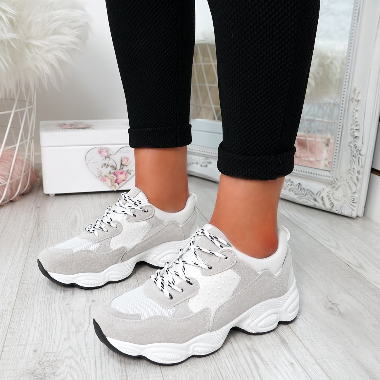 WOMENS-LADIES-RUNNING-GYM-CHUNKY-TRAINERS-SNEAKERS-SHOES-SIZE miniatura 9