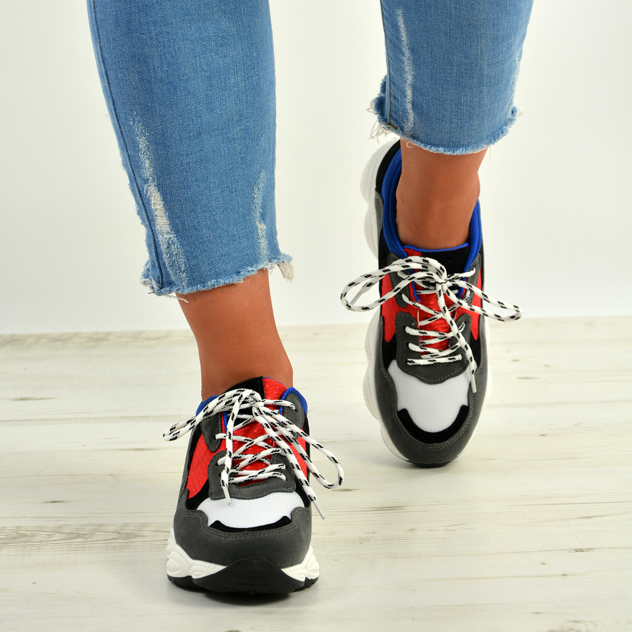 WOMENS-LADIES-RUNNING-GYM-CHUNKY-TRAINERS-SNEAKERS-SHOES-SIZE miniatura 11