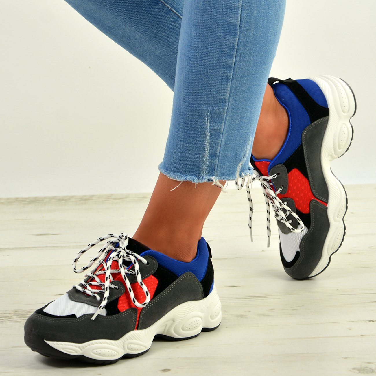 WOMENS-LADIES-RUNNING-GYM-CHUNKY-TRAINERS-SNEAKERS-SHOES-SIZE miniatura 12