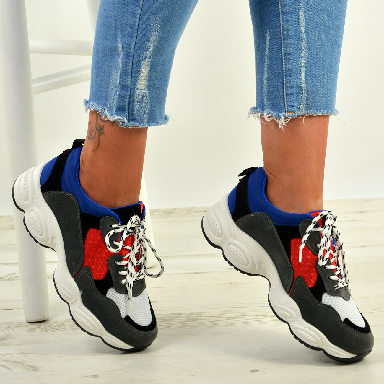 WOMENS-LADIES-RUNNING-GYM-CHUNKY-TRAINERS-SNEAKERS-SHOES-SIZE miniatura 13