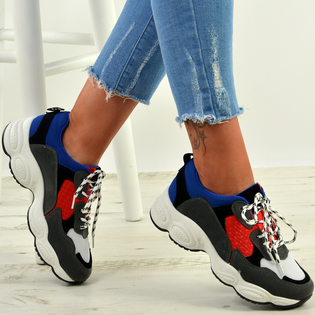WOMENS-LADIES-RUNNING-GYM-CHUNKY-TRAINERS-SNEAKERS-SHOES-SIZE miniatura 14