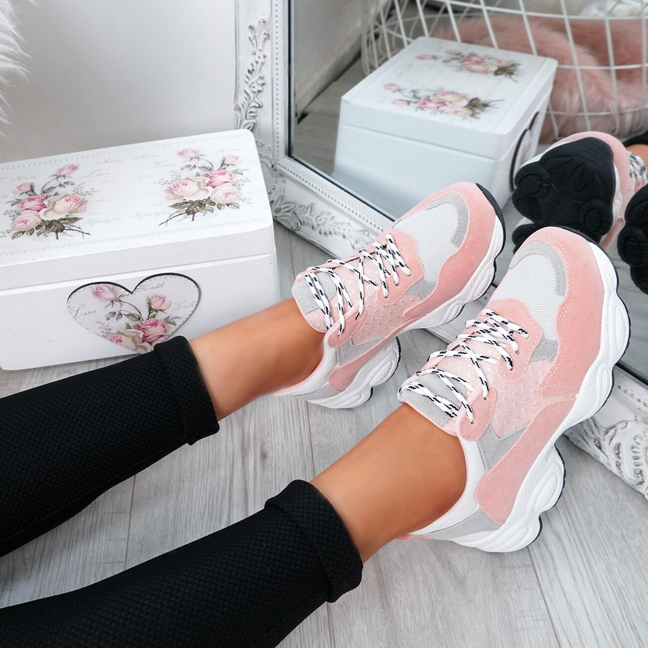 WOMENS-LADIES-RUNNING-GYM-CHUNKY-TRAINERS-SNEAKERS-SHOES-SIZE miniatura 16