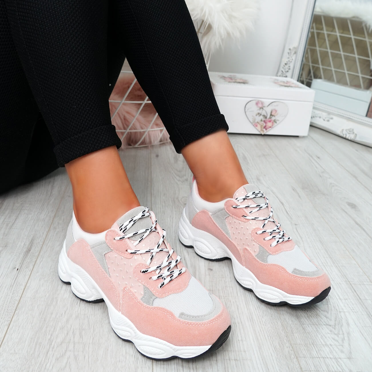 WOMENS-LADIES-RUNNING-GYM-CHUNKY-TRAINERS-SNEAKERS-SHOES-SIZE miniatura 18