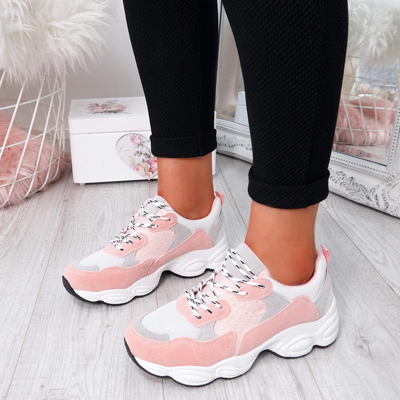 WOMENS-LADIES-RUNNING-GYM-CHUNKY-TRAINERS-SNEAKERS-SHOES-SIZE miniatura 19