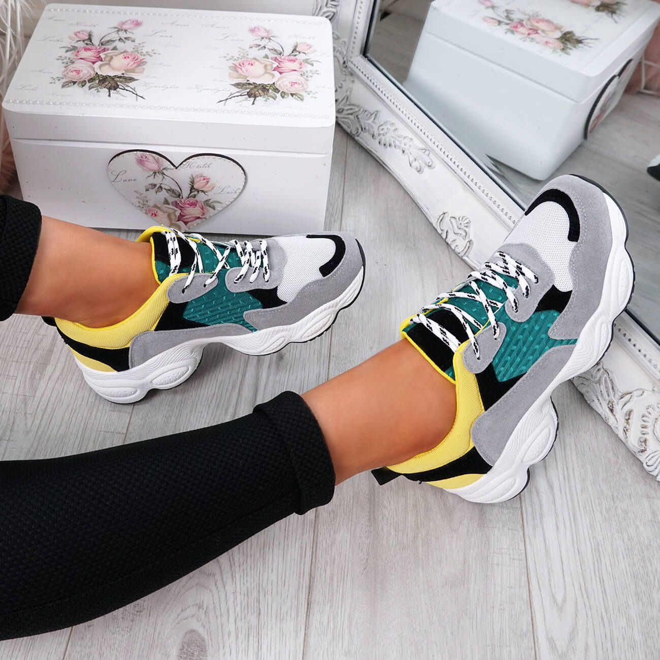 WOMENS-LADIES-RUNNING-GYM-CHUNKY-TRAINERS-SNEAKERS-SHOES-SIZE miniatura 22