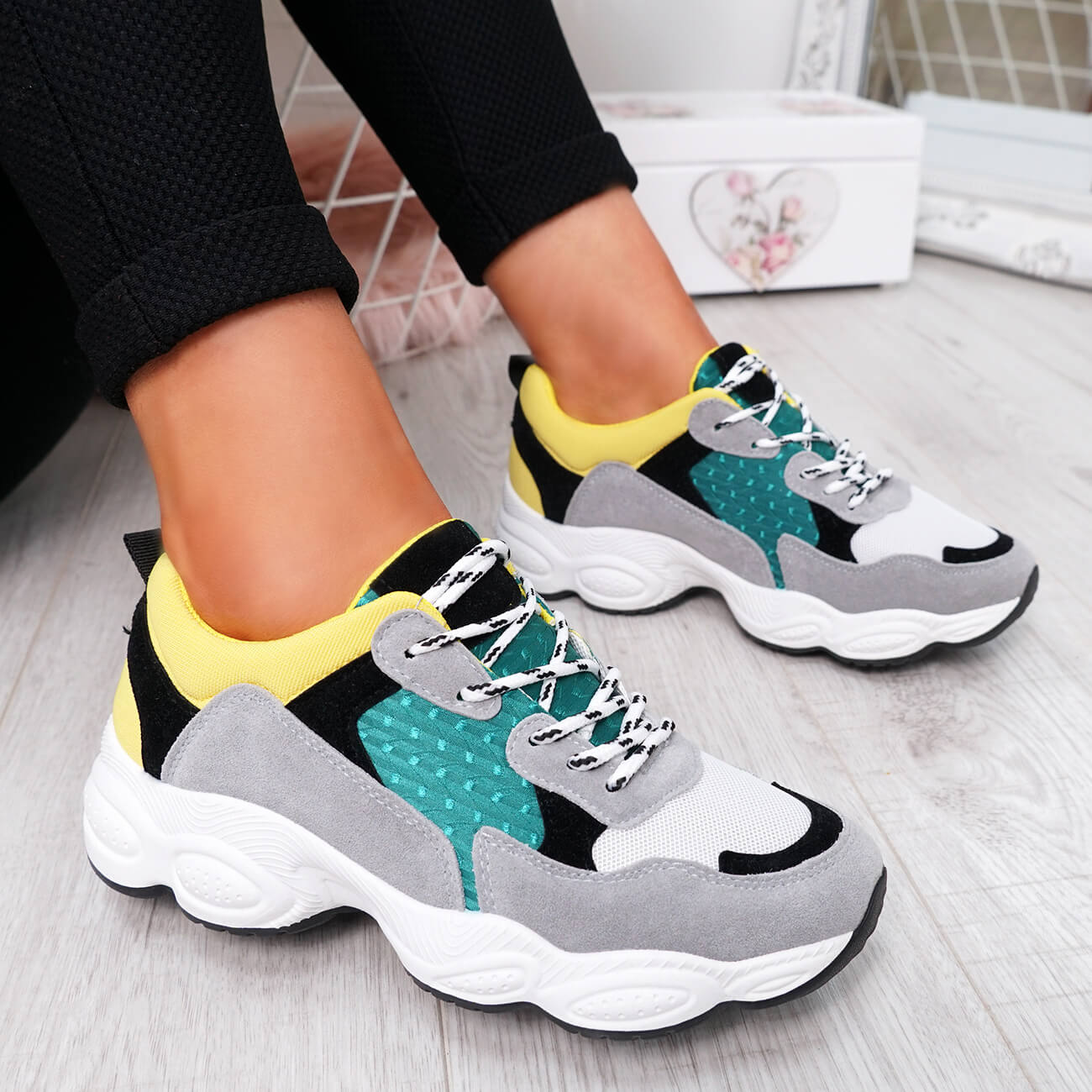 WOMENS-LADIES-RUNNING-GYM-CHUNKY-TRAINERS-SNEAKERS-SHOES-SIZE miniatura 23