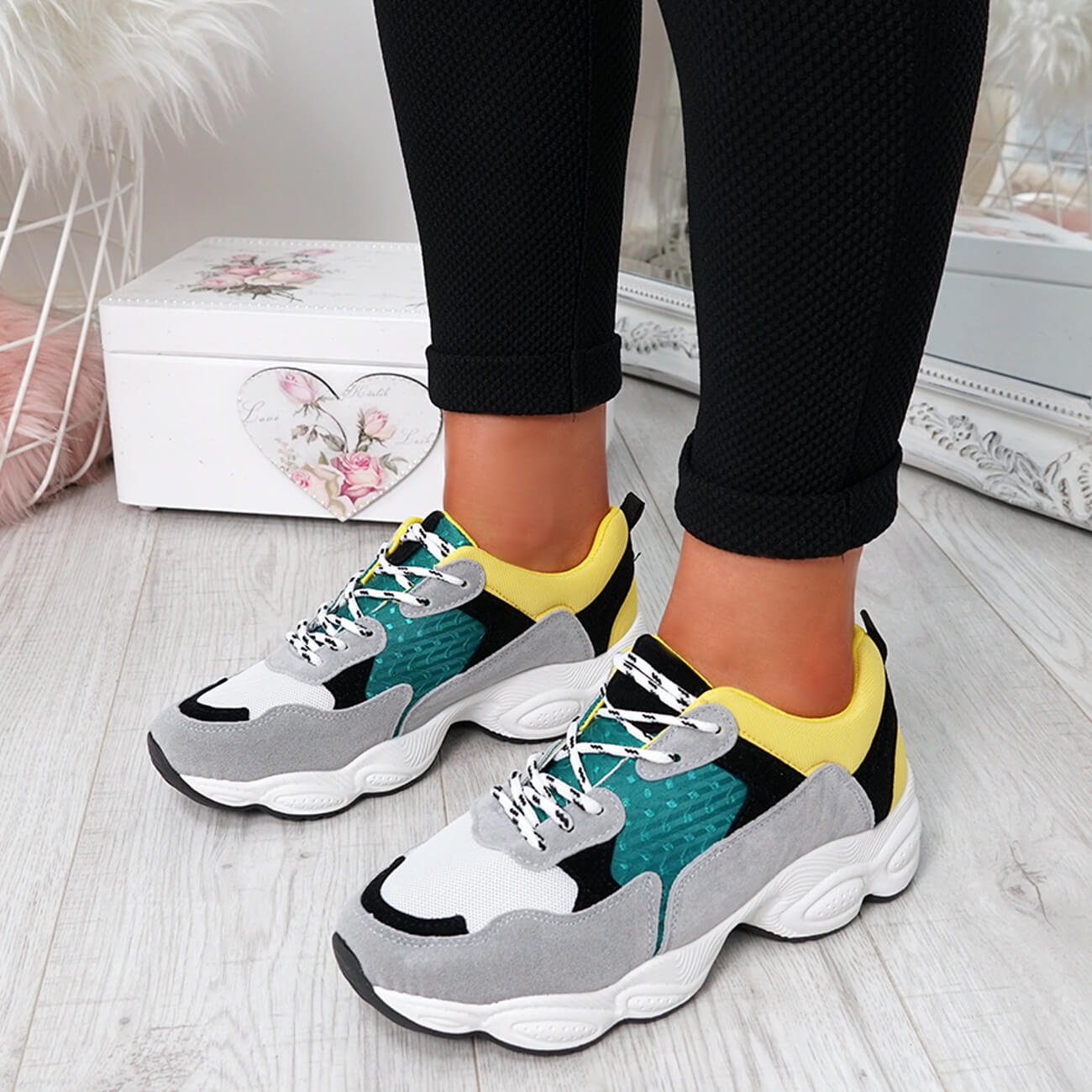WOMENS-LADIES-RUNNING-GYM-CHUNKY-TRAINERS-SNEAKERS-SHOES-SIZE miniatura 24