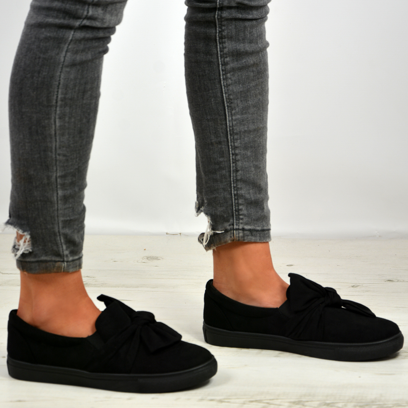New-Womens-Ladies-Bow-Flat-Trainers-Slip-On-Sneakers-Plimsoll-Shoes-Size-Uk-3-8