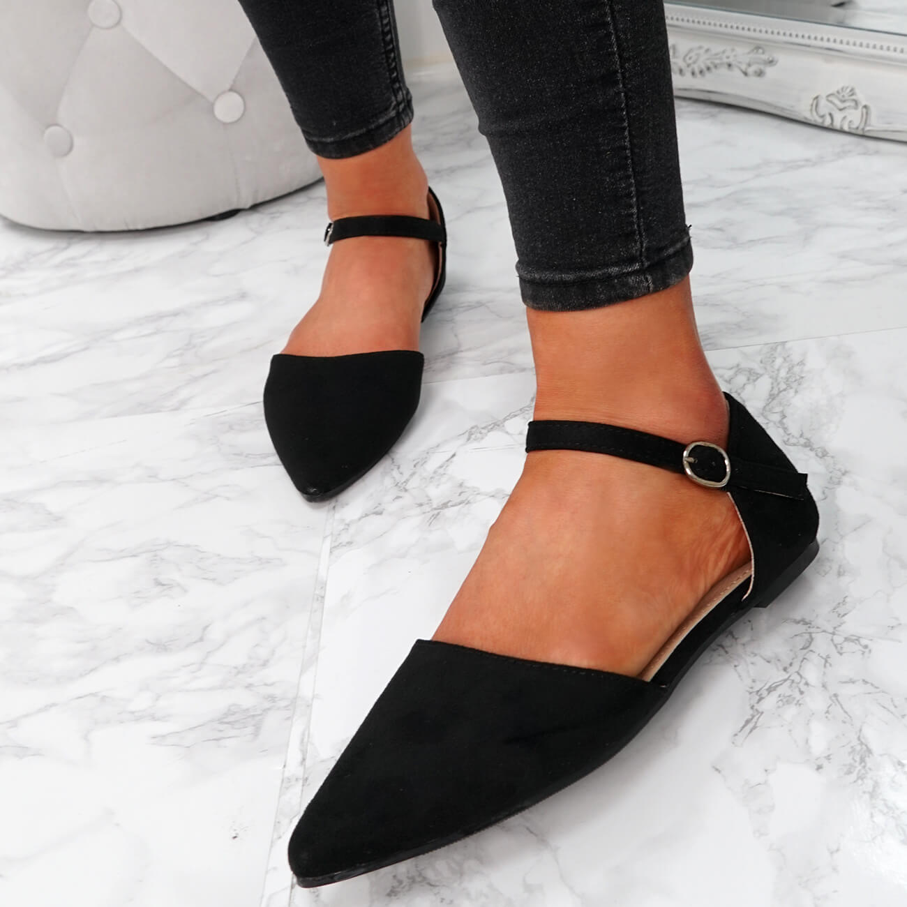 WOMENS LADIES ANKLE STRAP POINTED BALLERINAS PUMPS FLATS SUMMER SHOES SIZE