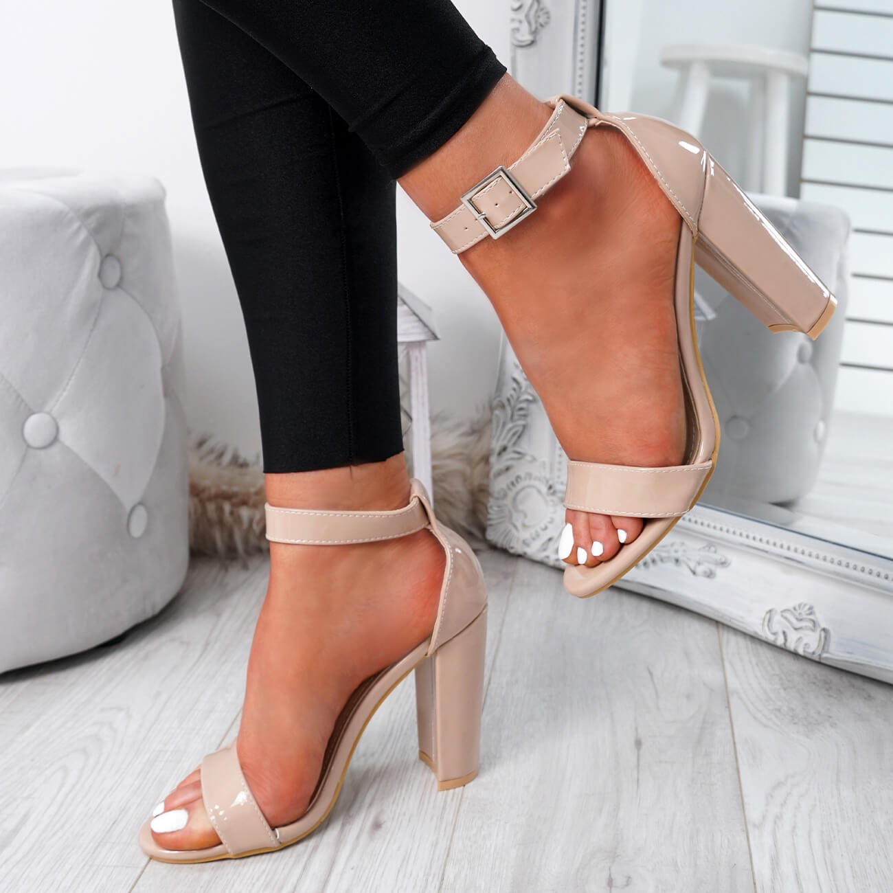 WOMENS-LADIES-HIGH-BLOCK-HEEL-PARTY-SANDALS-PEEP-TOE-ANKLE-STRAP-SHOES-SIZE-UK thumbnail 8