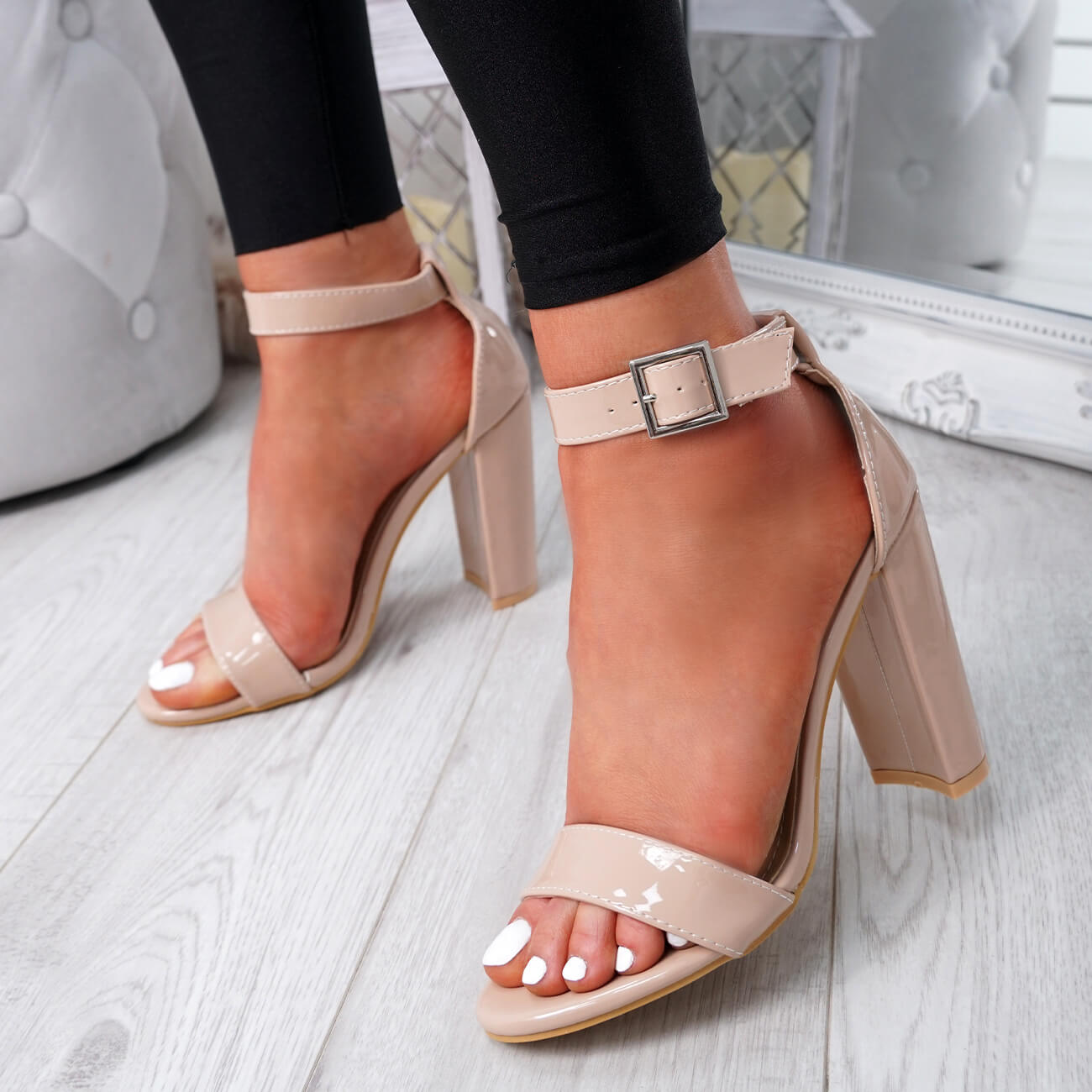 WOMENS-LADIES-HIGH-BLOCK-HEEL-PARTY-SANDALS-PEEP-TOE-ANKLE-STRAP-SHOES-SIZE-UK thumbnail 10