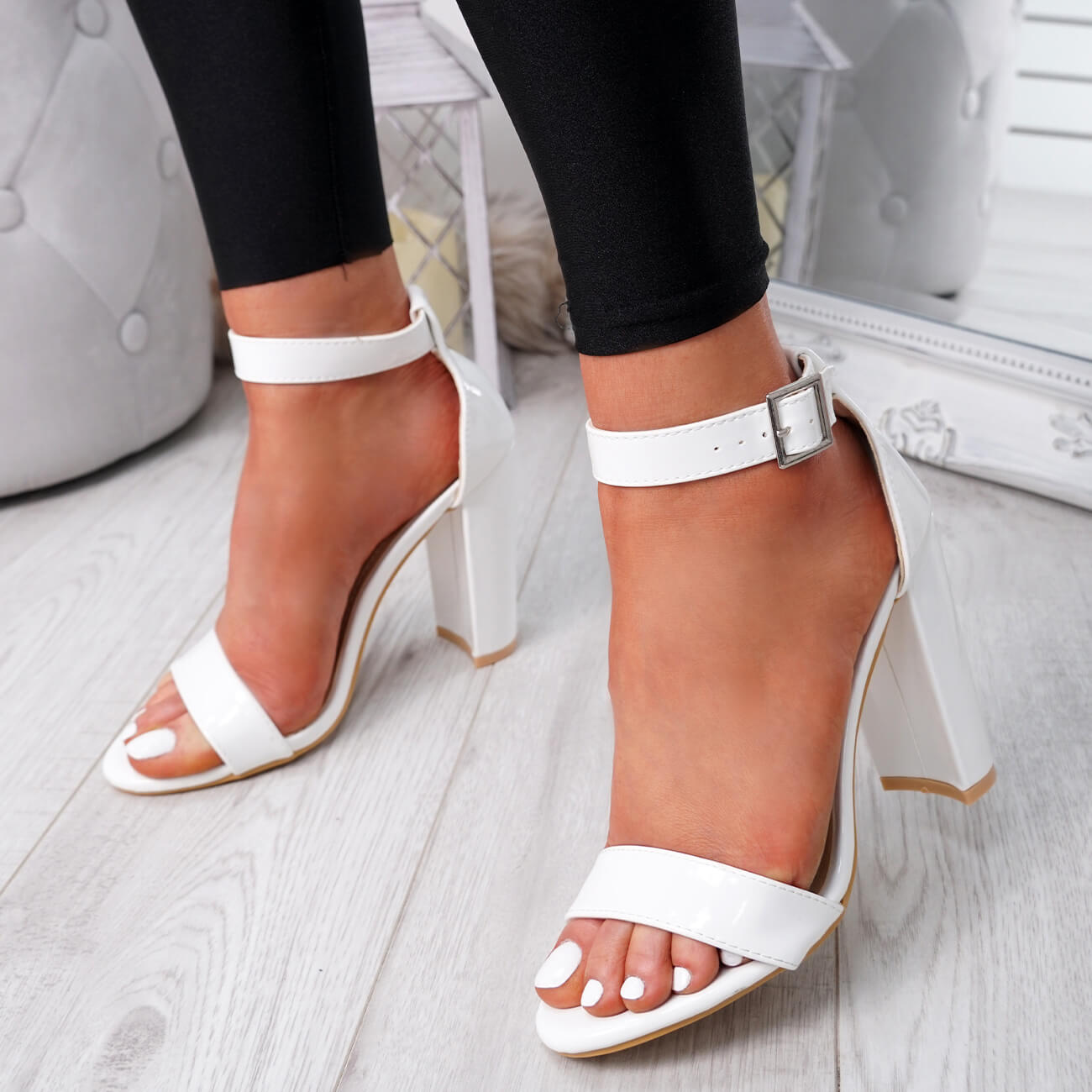 WOMENS-LADIES-HIGH-BLOCK-HEEL-PARTY-SANDALS-PEEP-TOE-ANKLE-STRAP-SHOES-SIZE-UK thumbnail 30