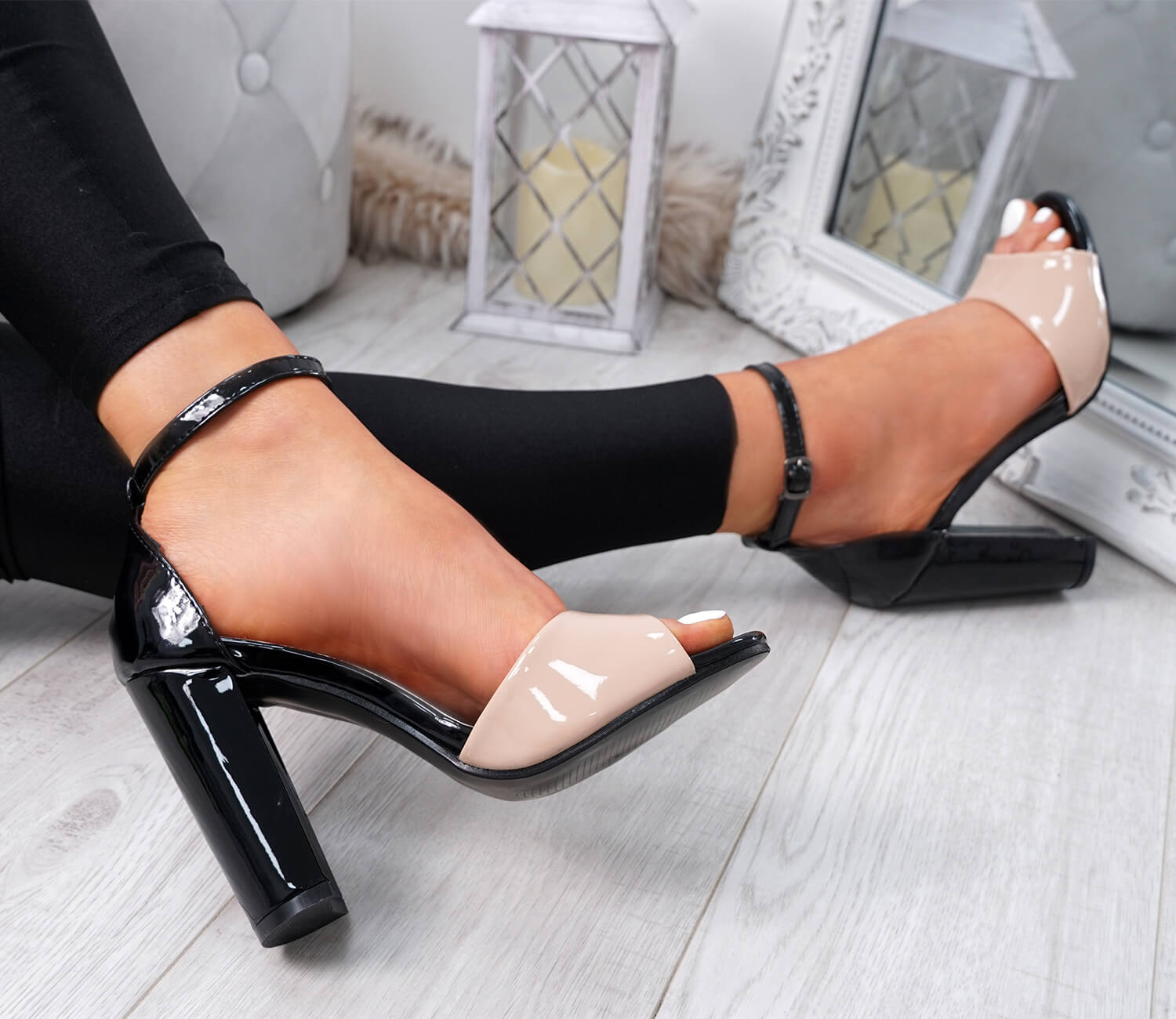 WOMENS-LADIES-ANKLE-STRAP-HIGH-BLOCK-HEEL-SANDALS-PEEP-TOE-OFFICE-CASUAL-SHOES thumbnail 9