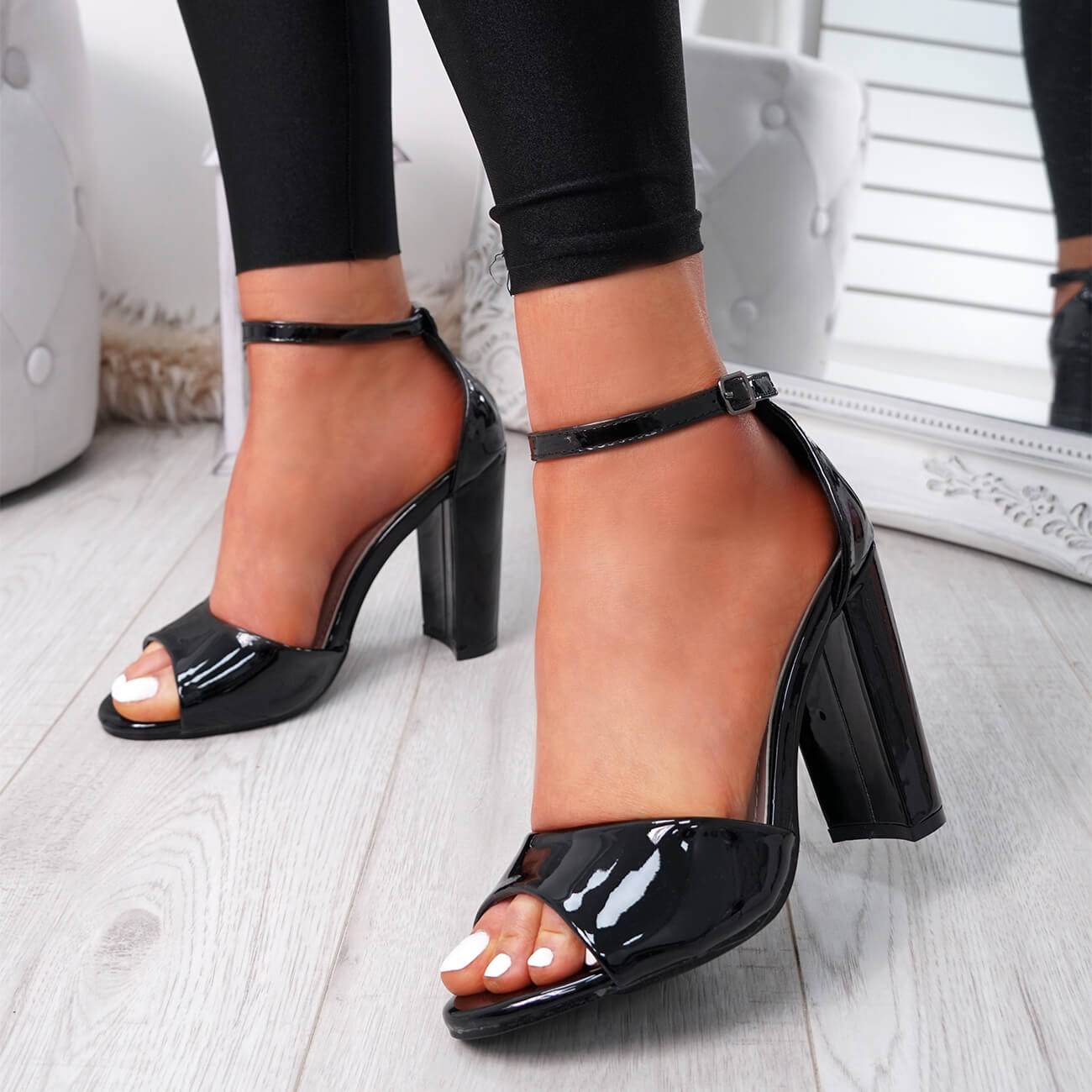 WOMENS-LADIES-ANKLE-STRAP-HIGH-BLOCK-HEEL-SANDALS-PEEP-TOE-OFFICE-CASUAL-SHOES thumbnail 14