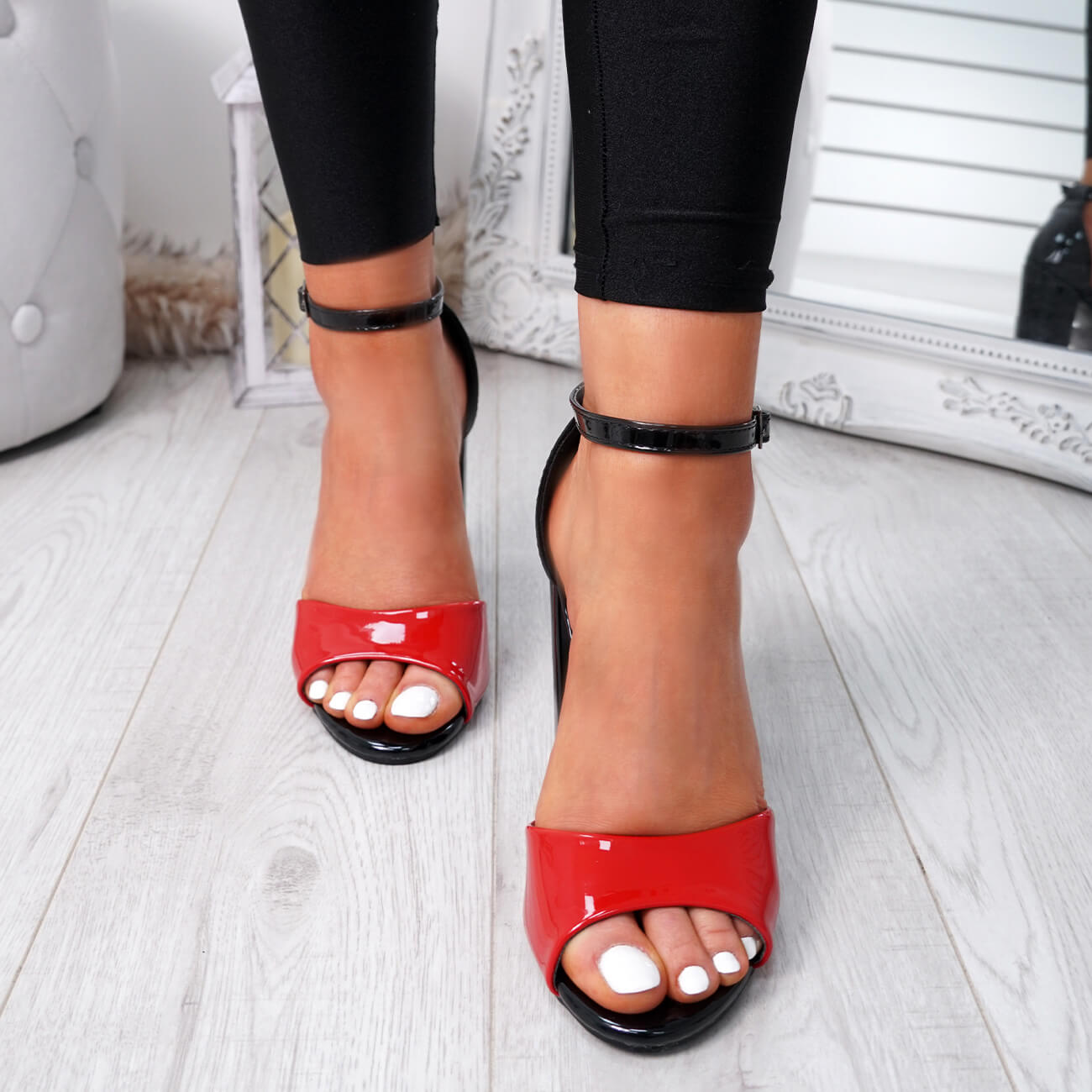 WOMENS-LADIES-ANKLE-STRAP-HIGH-BLOCK-HEEL-SANDALS-PEEP-TOE-OFFICE-CASUAL-SHOES thumbnail 22