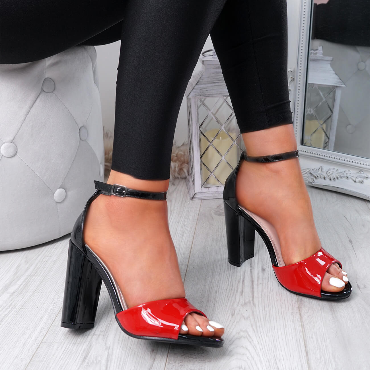 WOMENS-LADIES-ANKLE-STRAP-HIGH-BLOCK-HEEL-SANDALS-PEEP-TOE-OFFICE-CASUAL-SHOES thumbnail 24