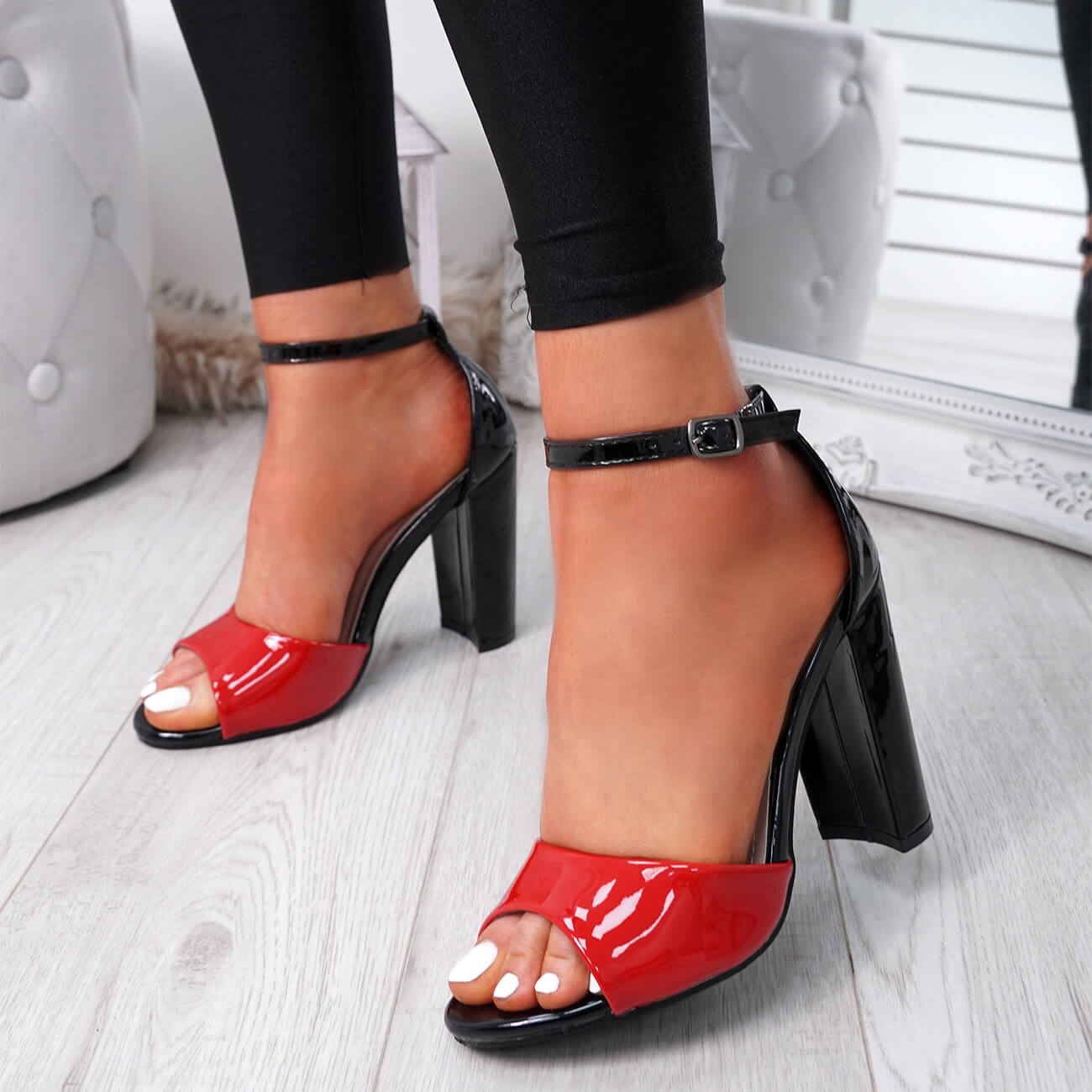 WOMENS-LADIES-ANKLE-STRAP-HIGH-BLOCK-HEEL-SANDALS-PEEP-TOE-OFFICE-CASUAL-SHOES thumbnail 25