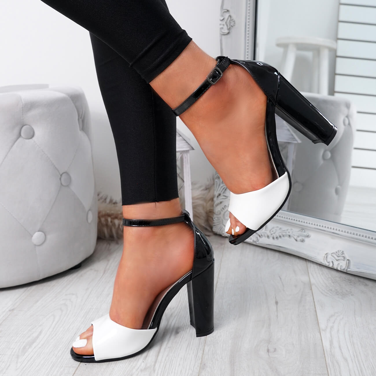 WOMENS-LADIES-ANKLE-STRAP-HIGH-BLOCK-HEEL-SANDALS-PEEP-TOE-OFFICE-CASUAL-SHOES thumbnail 28