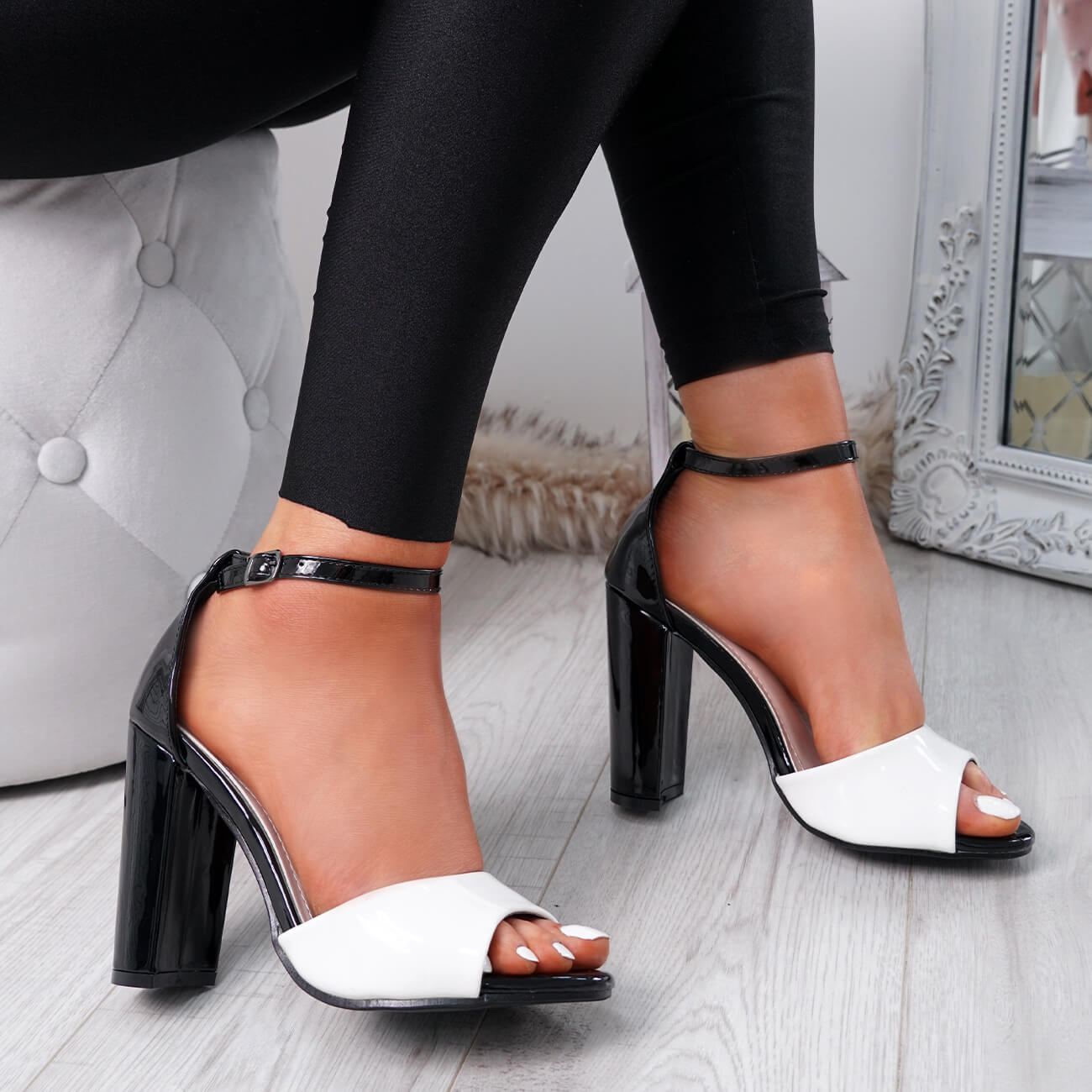 WOMENS-LADIES-ANKLE-STRAP-HIGH-BLOCK-HEEL-SANDALS-PEEP-TOE-OFFICE-CASUAL-SHOES thumbnail 30