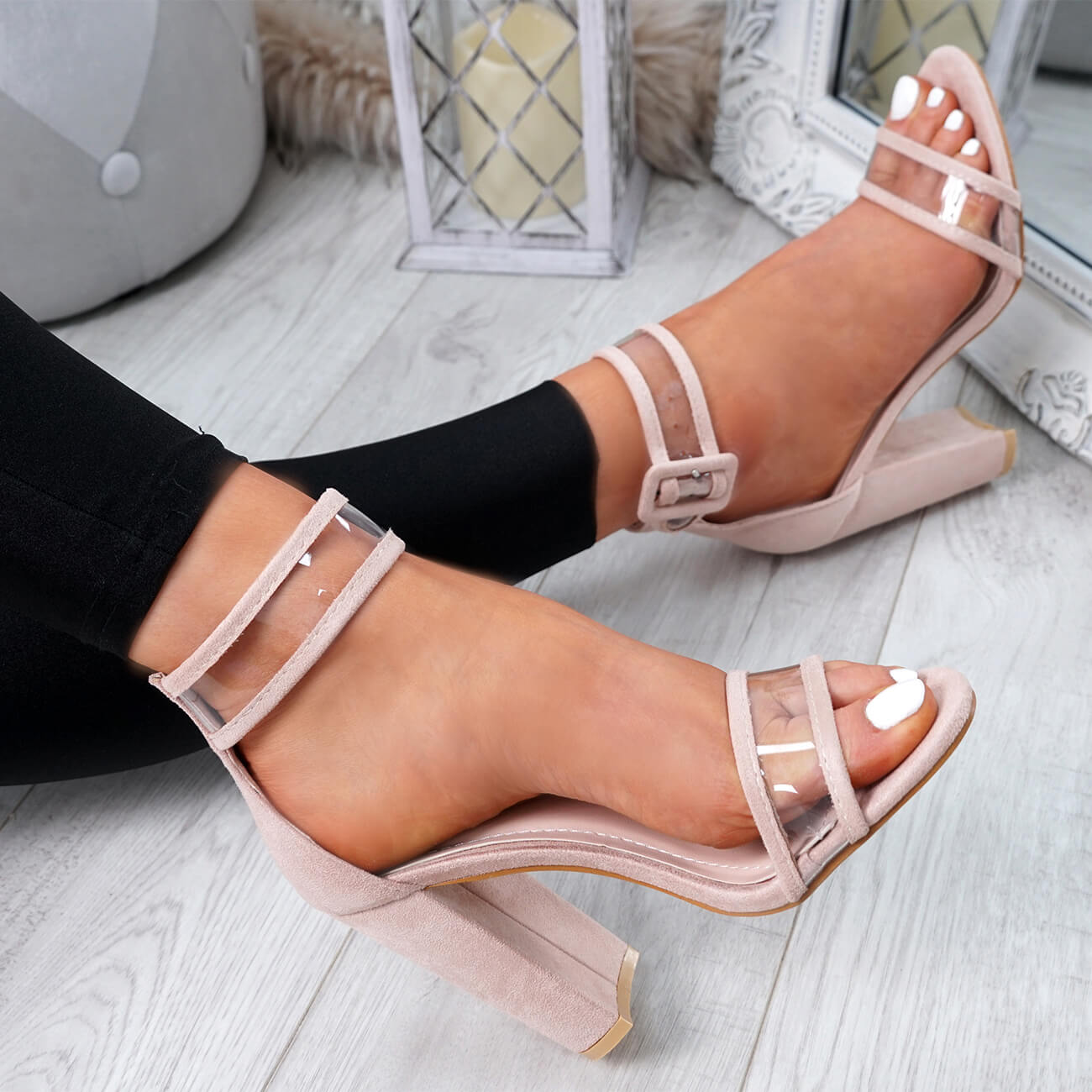 WOMENS-LADIES-ANKLE-STRAP-HIGH-HEEL-SANDALS-PEEP-TOE-CLEAR-FASHION-SHOES-SIZE thumbnail 7