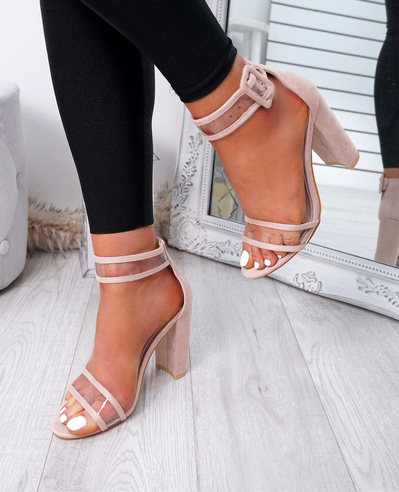 WOMENS-LADIES-ANKLE-STRAP-HIGH-HEEL-SANDALS-PEEP-TOE-CLEAR-FASHION-SHOES-SIZE thumbnail 8