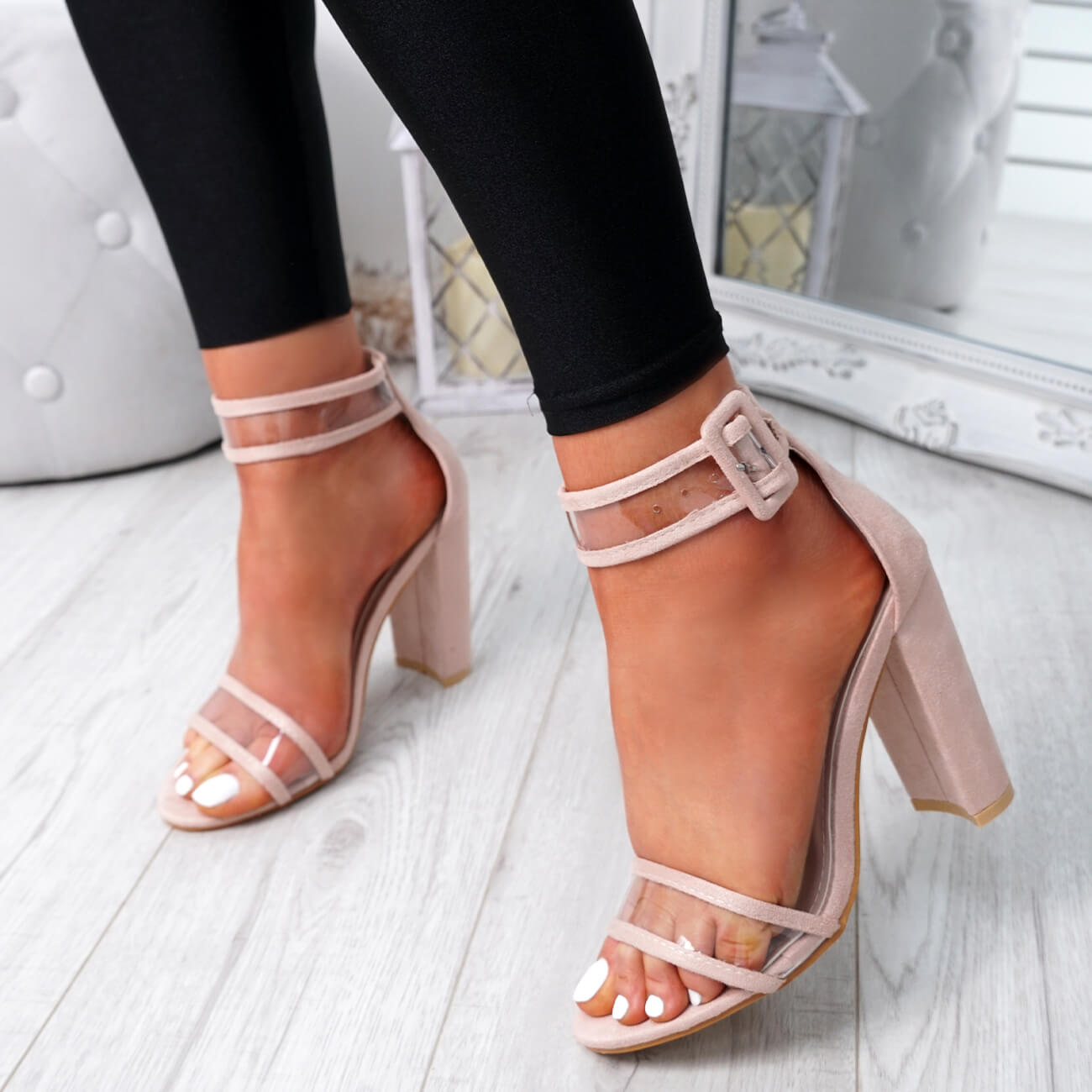 WOMENS-LADIES-ANKLE-STRAP-HIGH-HEEL-SANDALS-PEEP-TOE-CLEAR-FASHION-SHOES-SIZE thumbnail 10