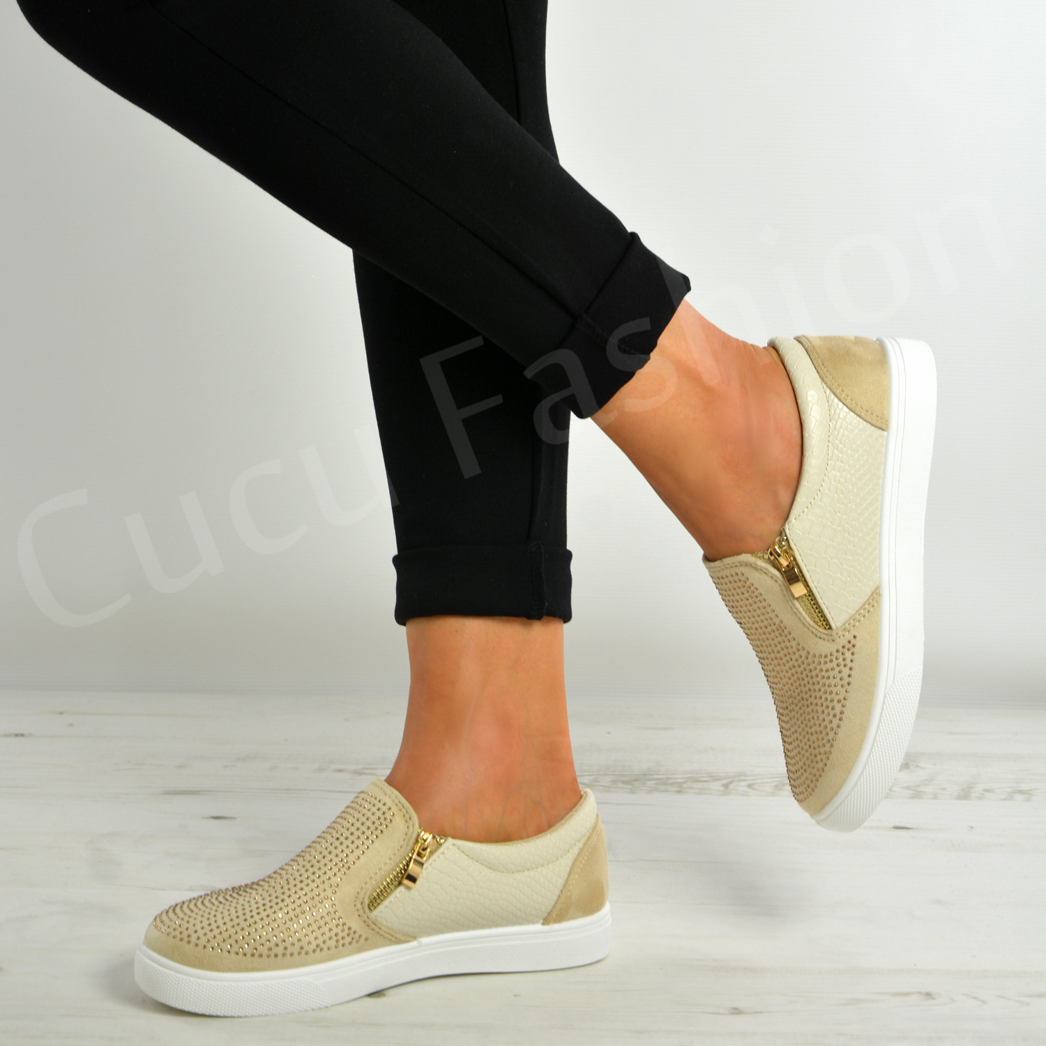 New-Womens-Ladies-Slip-On-Studded-Flat-Trainers-Zip-Shoes-Size-Uk-3-8 thumbnail 4