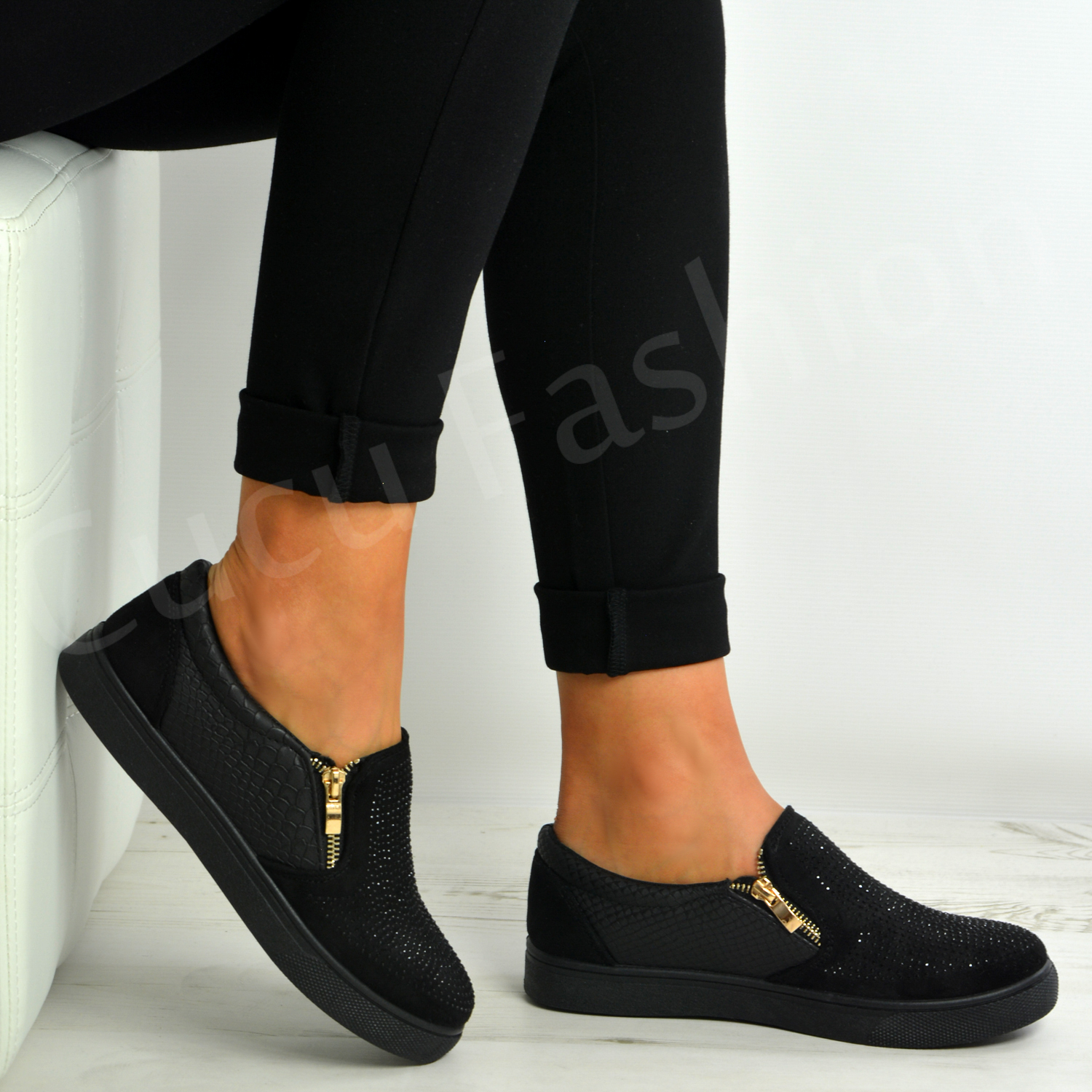 New Womens Ladies Studded Slip On Trainers Flat Sneakers Shoes Size Uk 3-8