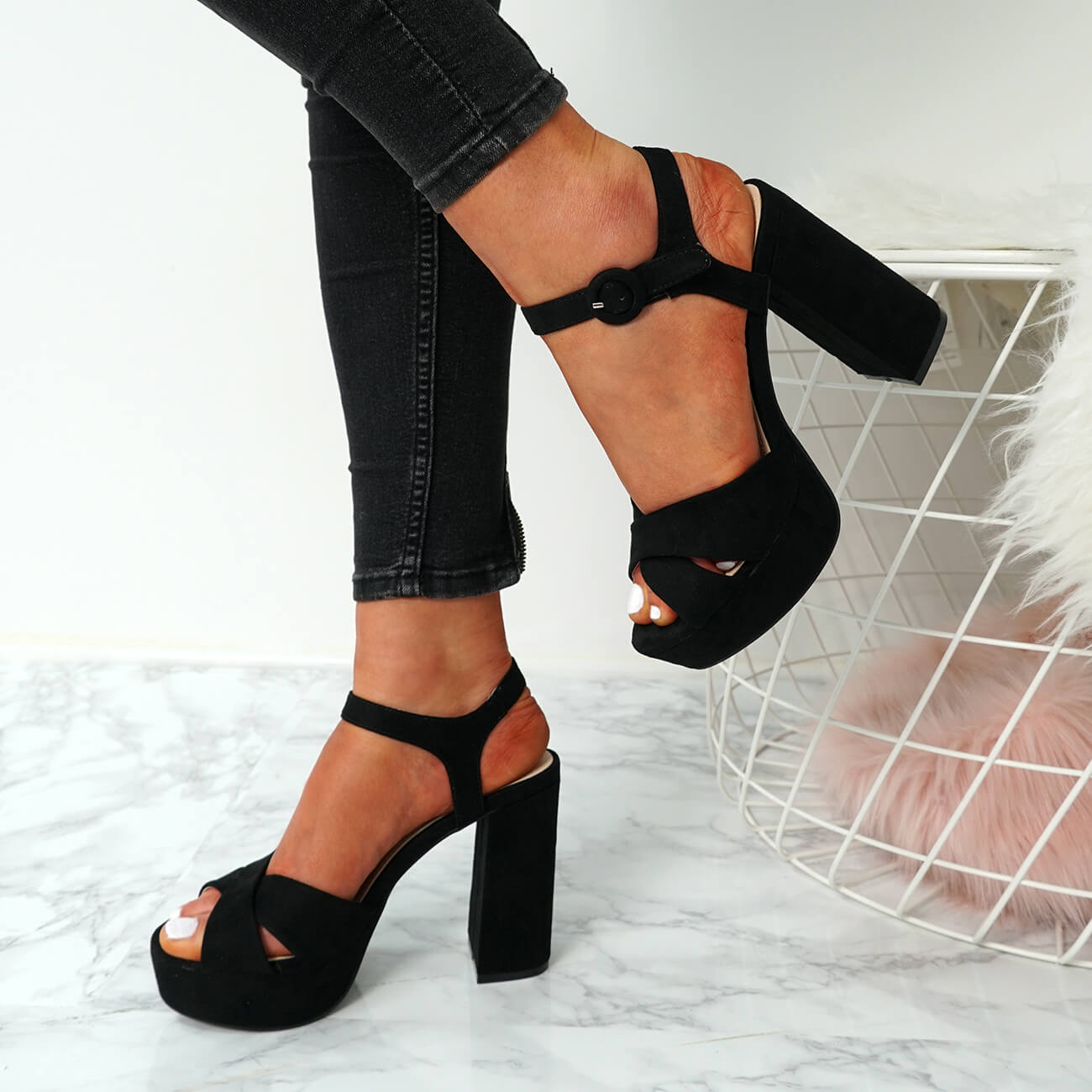 f2cae99a8c WOMENS LADIES HIGH BLOCK CHUNKY HEELS SANDALS PLATFORMS ANKLE STRAP ...