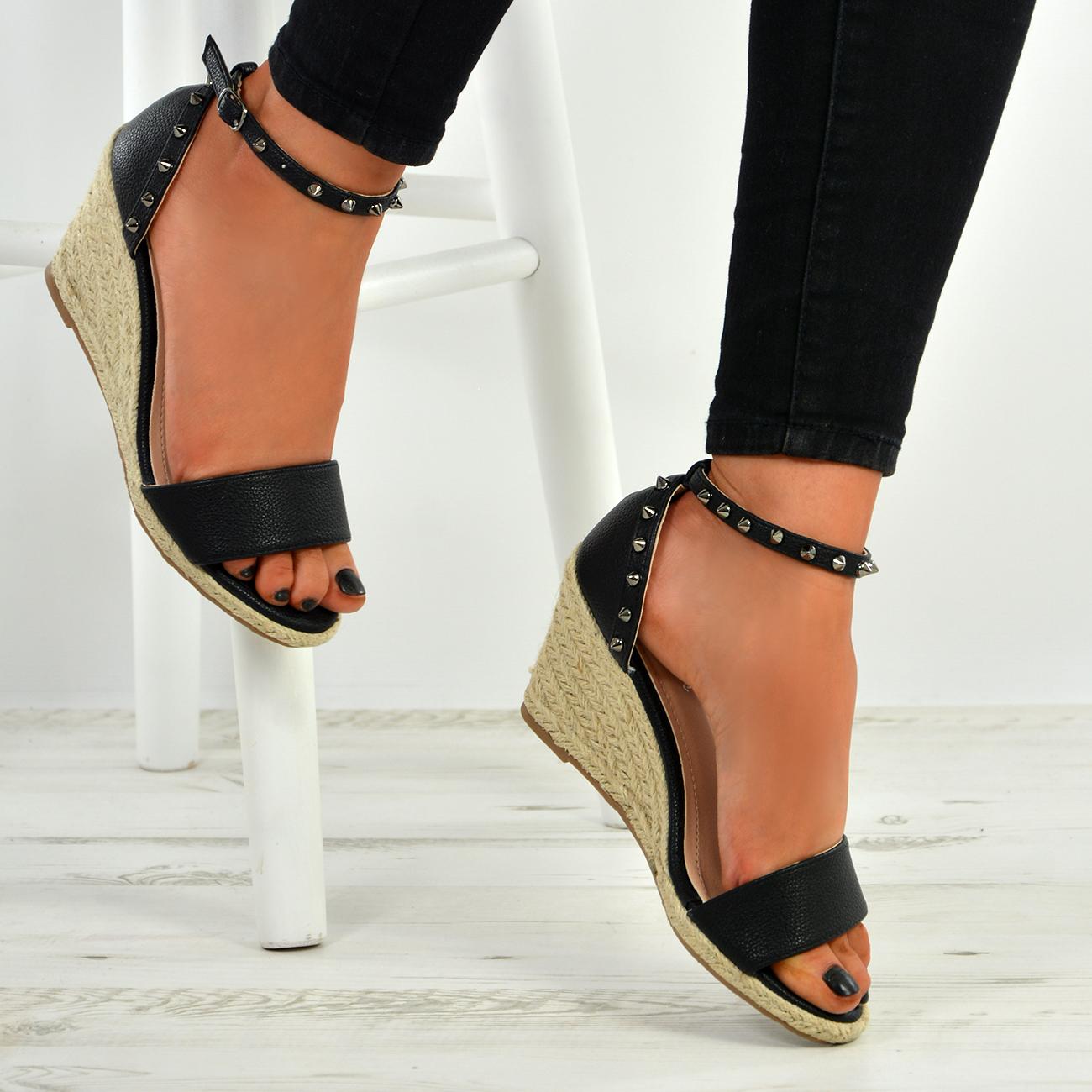 New Womens Ladies Rock Studs Peep Toe Espadrille Wedge Platforms Sandals Shoes