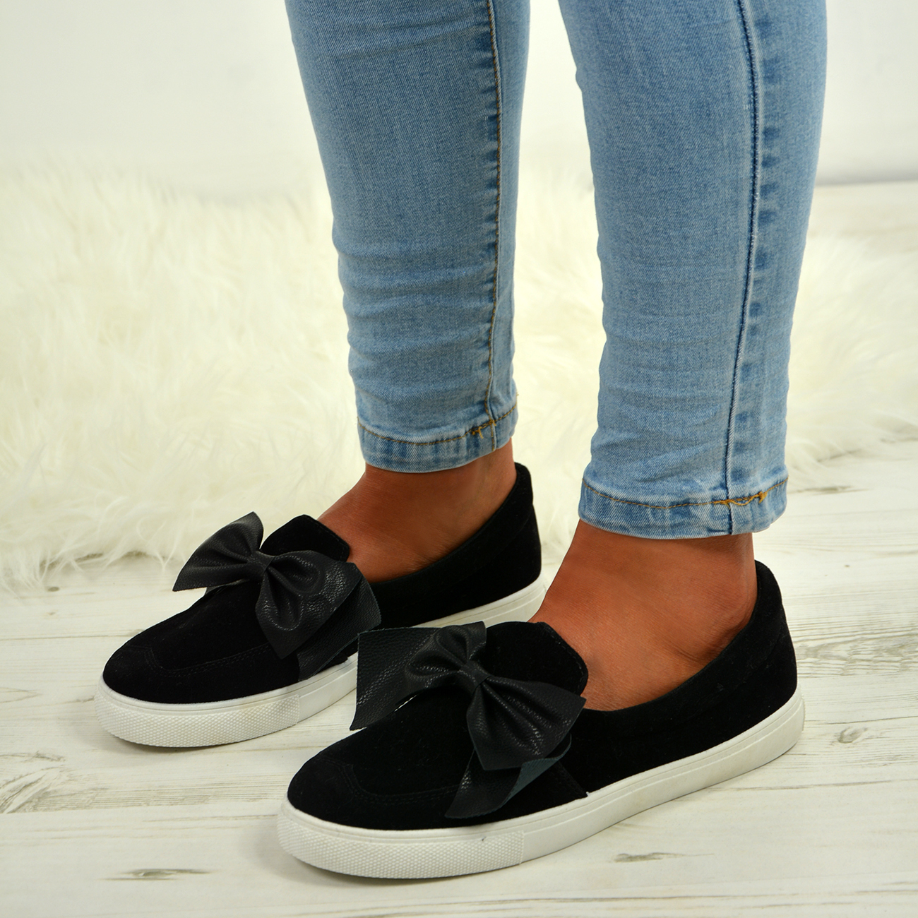 d5d755a88e08 LADIES WOMENS FLAT SNEAKERS BOW COMFY SLIP ON TRAINERS PLIMSOLLS ...
