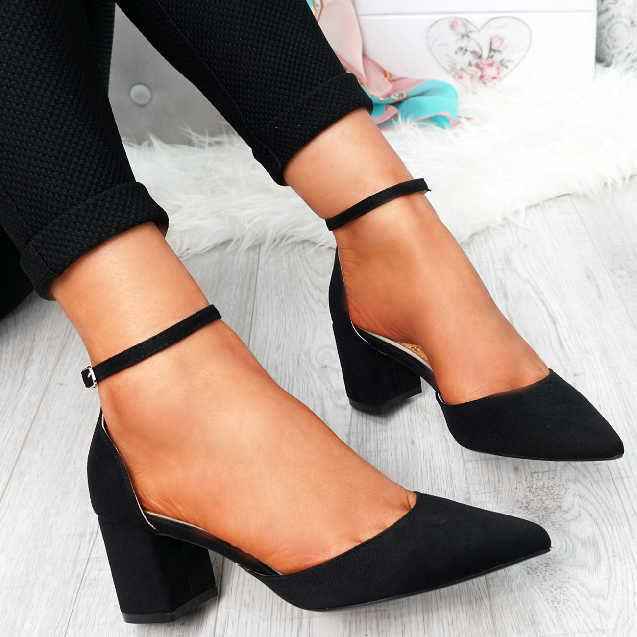 WOMENS-LADIES-ANKLE-STRAP-BLOCK-HEEL-PUMPS-POINTED-TOE-WORK-PARTY-SHOES-SIZE thumbnail 7