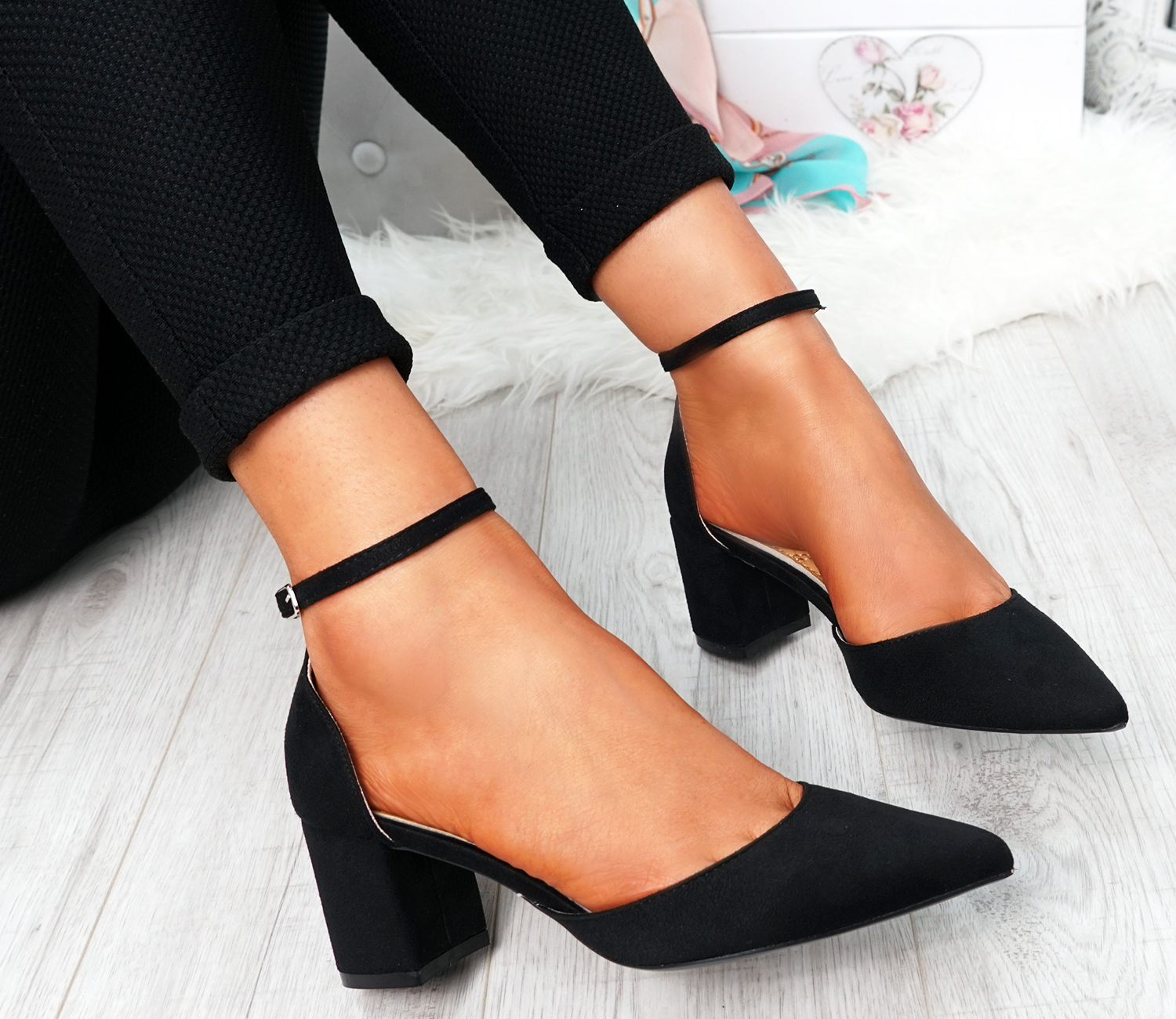 WOMENS-LADIES-ANKLE-STRAP-BLOCK-HEEL-PUMPS-POINTED-TOE-WORK-PARTY-SHOES-SIZE thumbnail 10