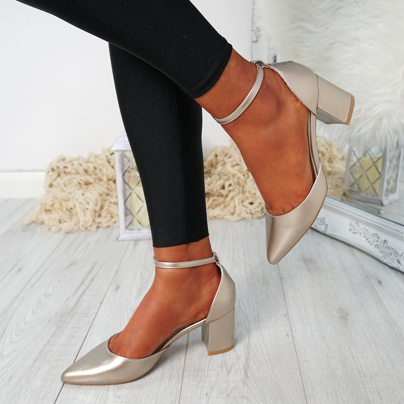 WOMENS-LADIES-ANKLE-STRAP-BLOCK-HEEL-PUMPS-POINTED-TOE-WORK-PARTY-SHOES-SIZE thumbnail 14