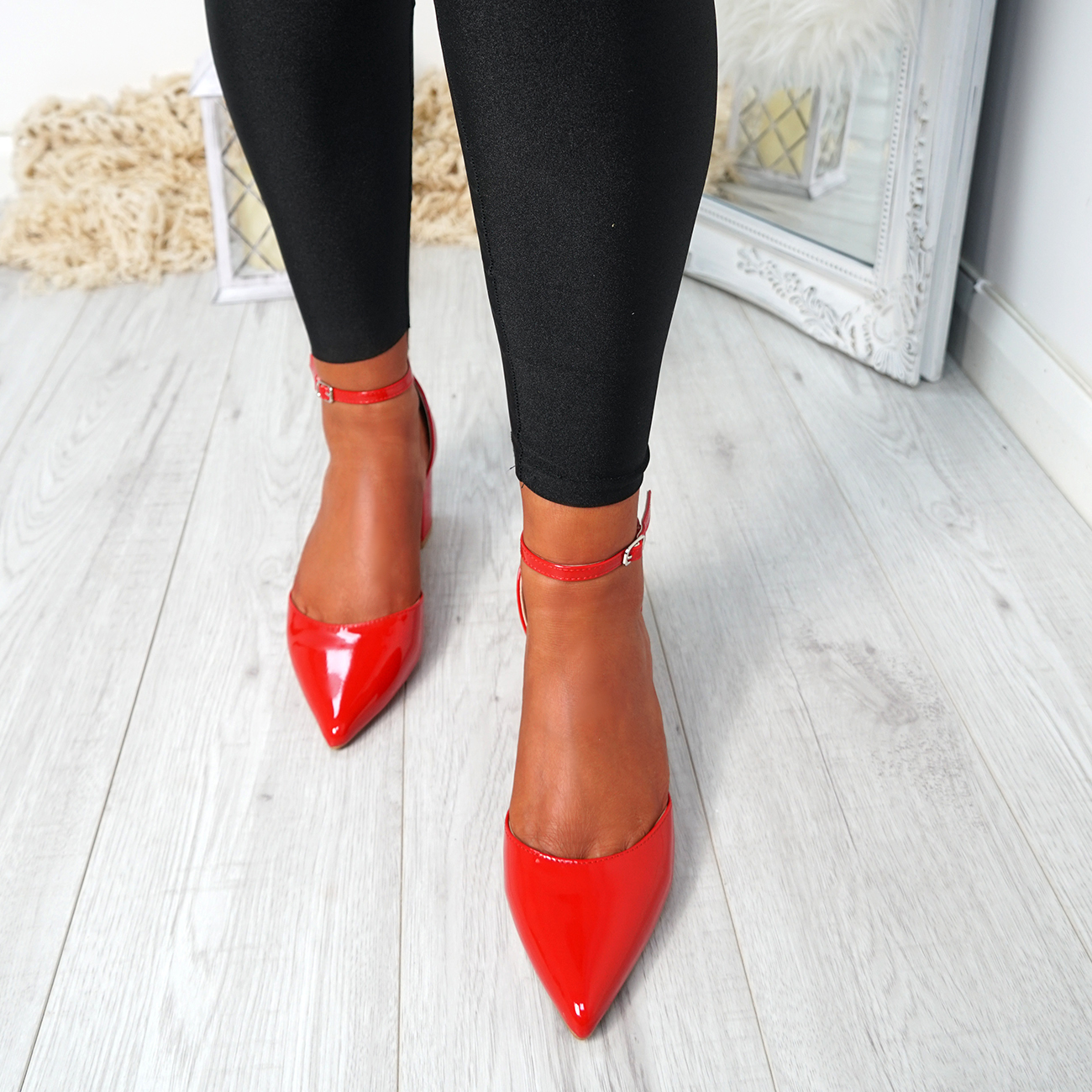 WOMENS-LADIES-ANKLE-STRAP-BLOCK-HEEL-PUMPS-POINTED-TOE-WORK-PARTY-SHOES-SIZE thumbnail 18